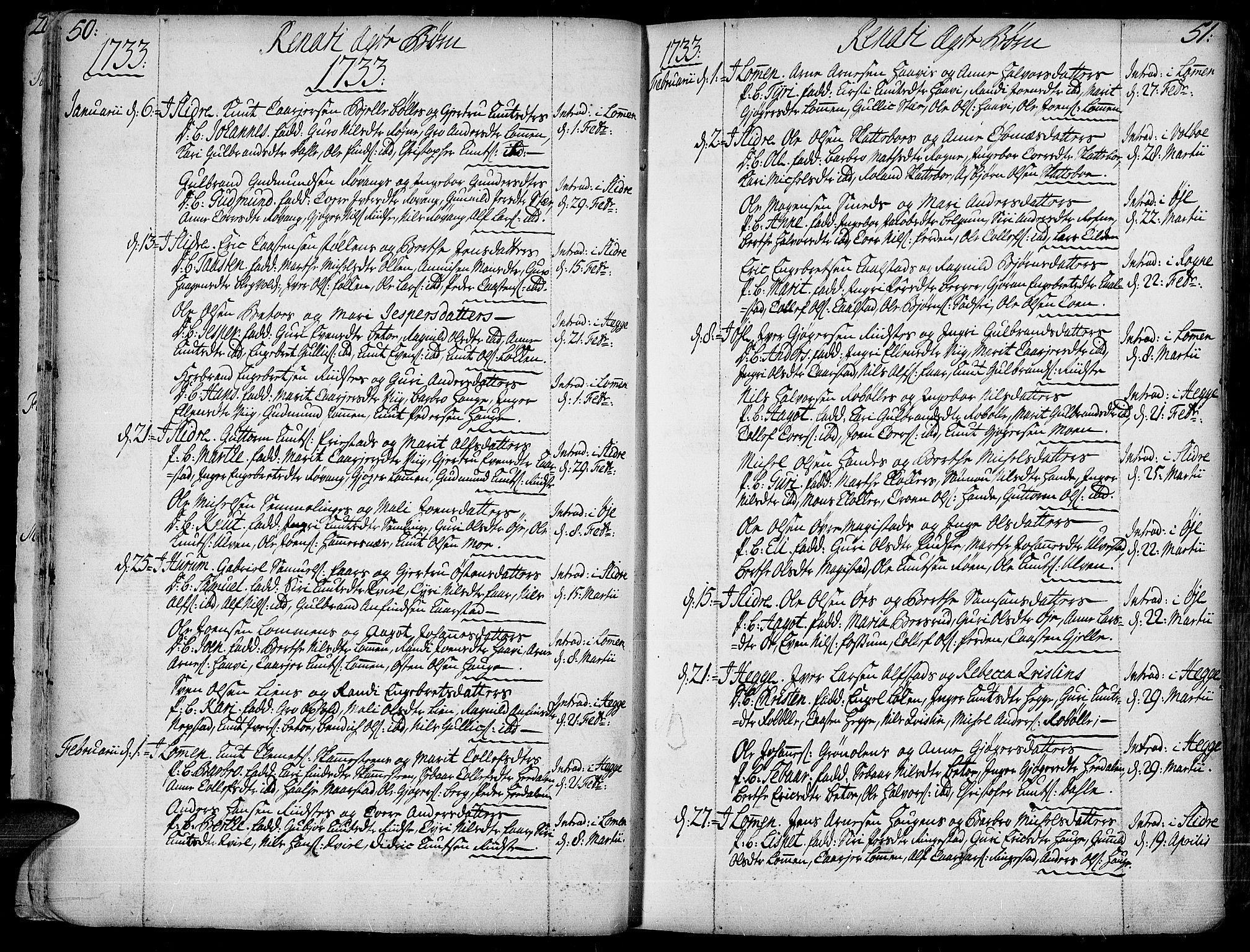 SAH, Slidre prestekontor, Ministerialbok nr. 1, 1724-1814, s. 50-51