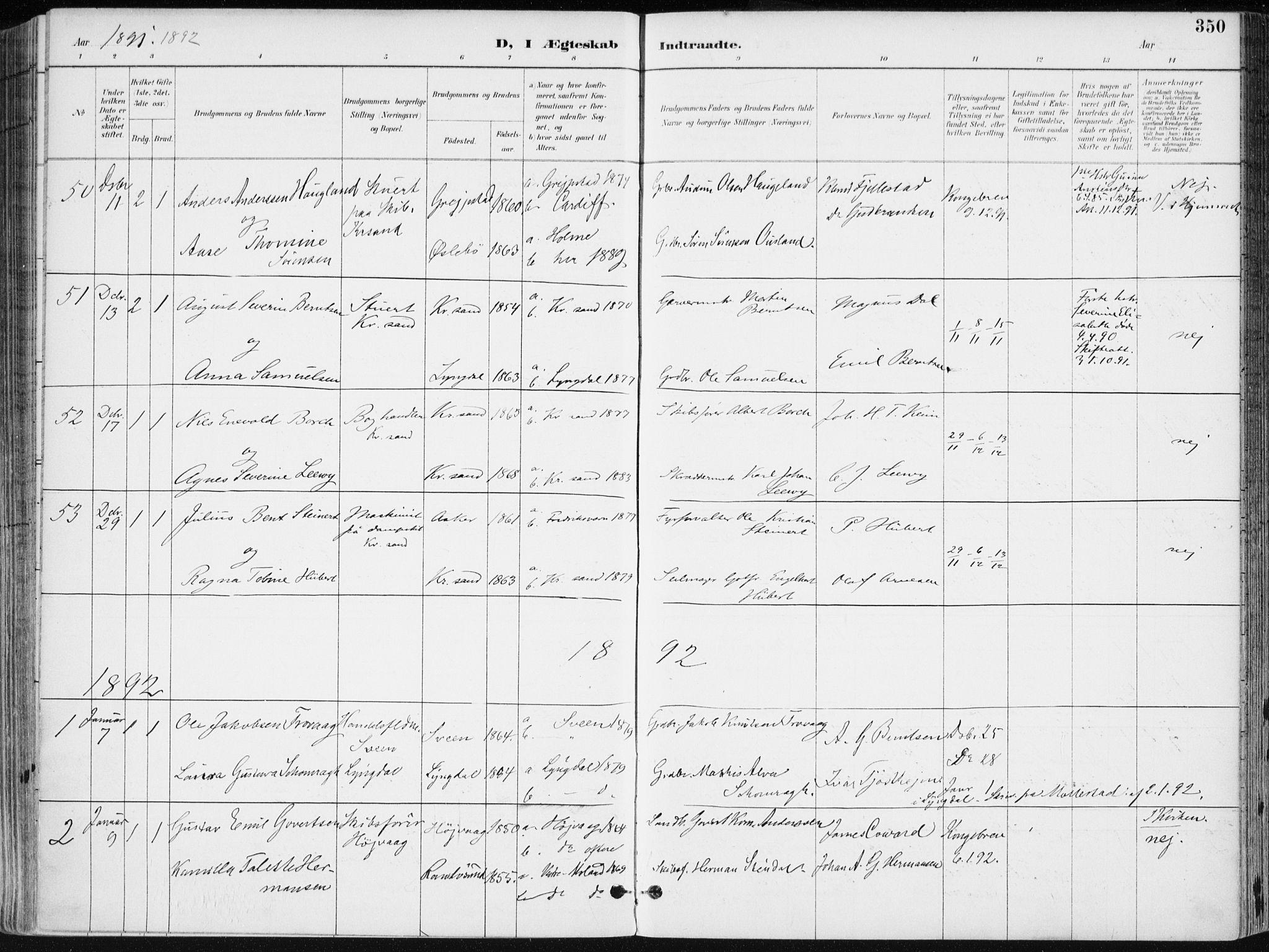 SAK, Kristiansand domprosti, F/Fa/L0019: Ministerialbok nr. A 18, 1890-1897, s. 350
