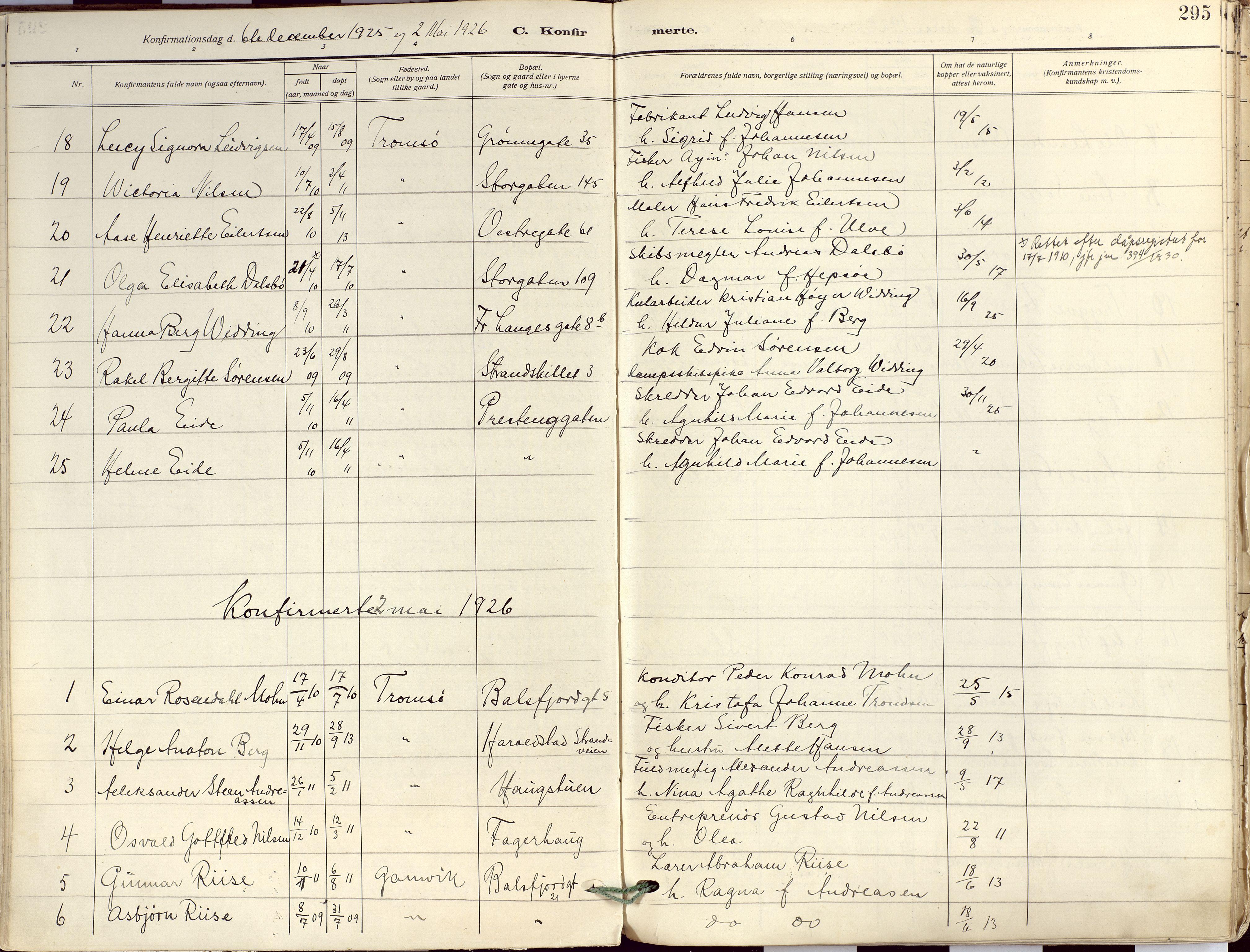 SATØ, Tromsø sokneprestkontor/stiftsprosti/domprosti, G/Ga/L0019kirke: Ministerialbok nr. 19, 1917-1927, s. 295