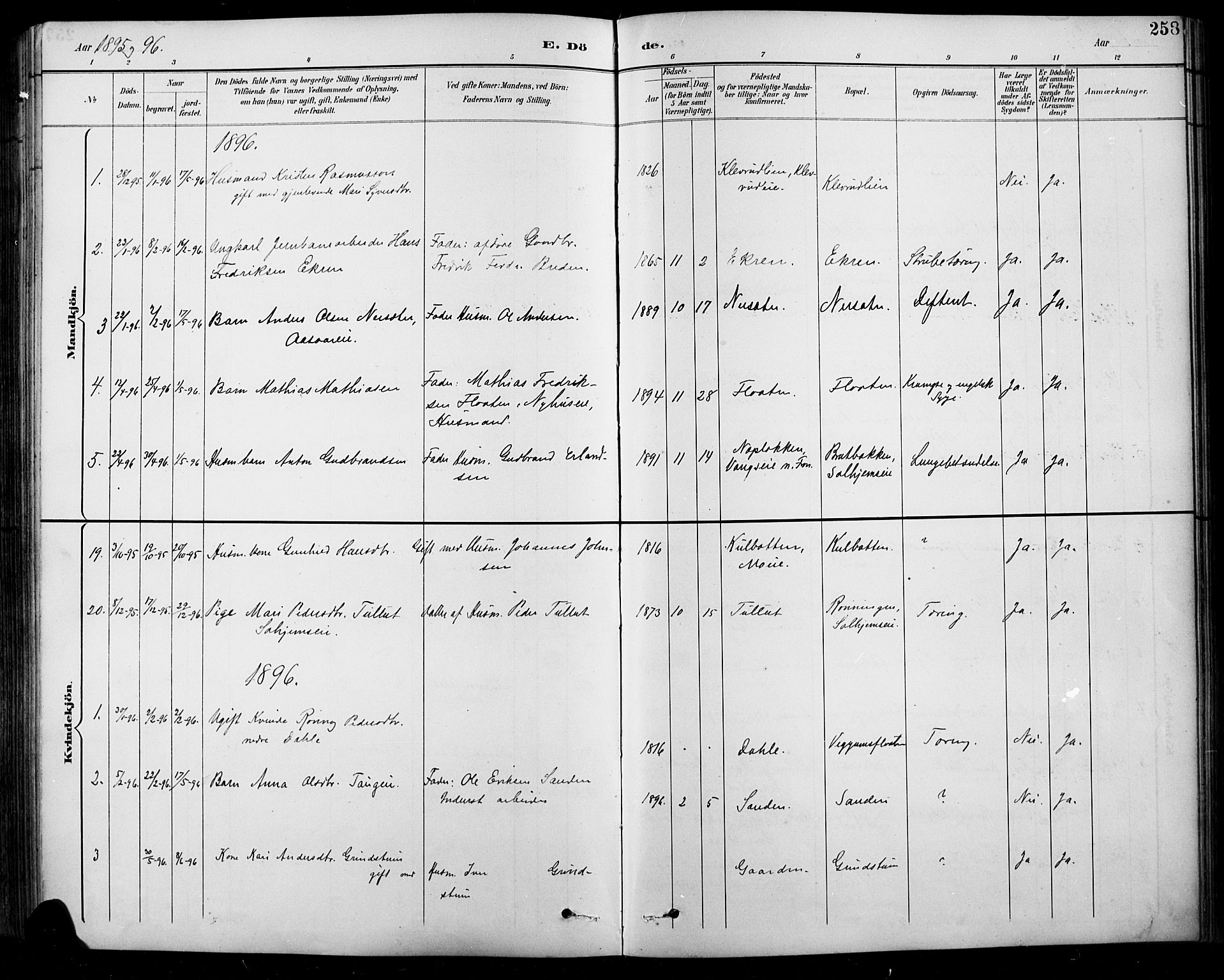 SAH, Sel prestekontor, Klokkerbok nr. 1, 1894-1923, s. 258