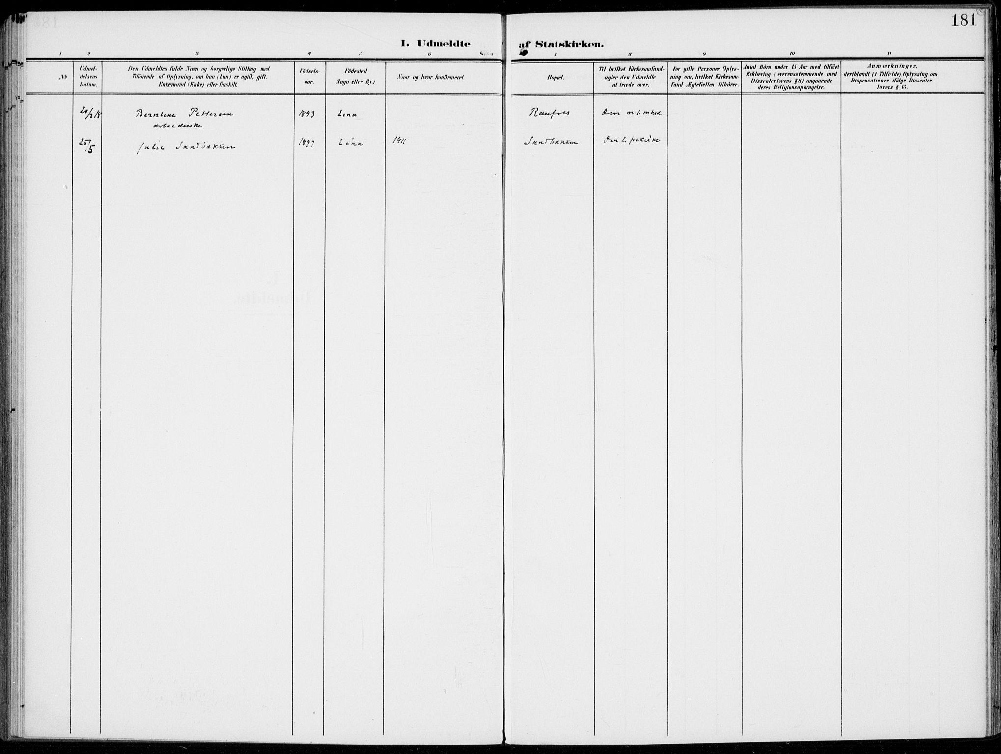 SAH, Kolbu prestekontor, Ministerialbok nr. 1, 1907-1923, s. 181