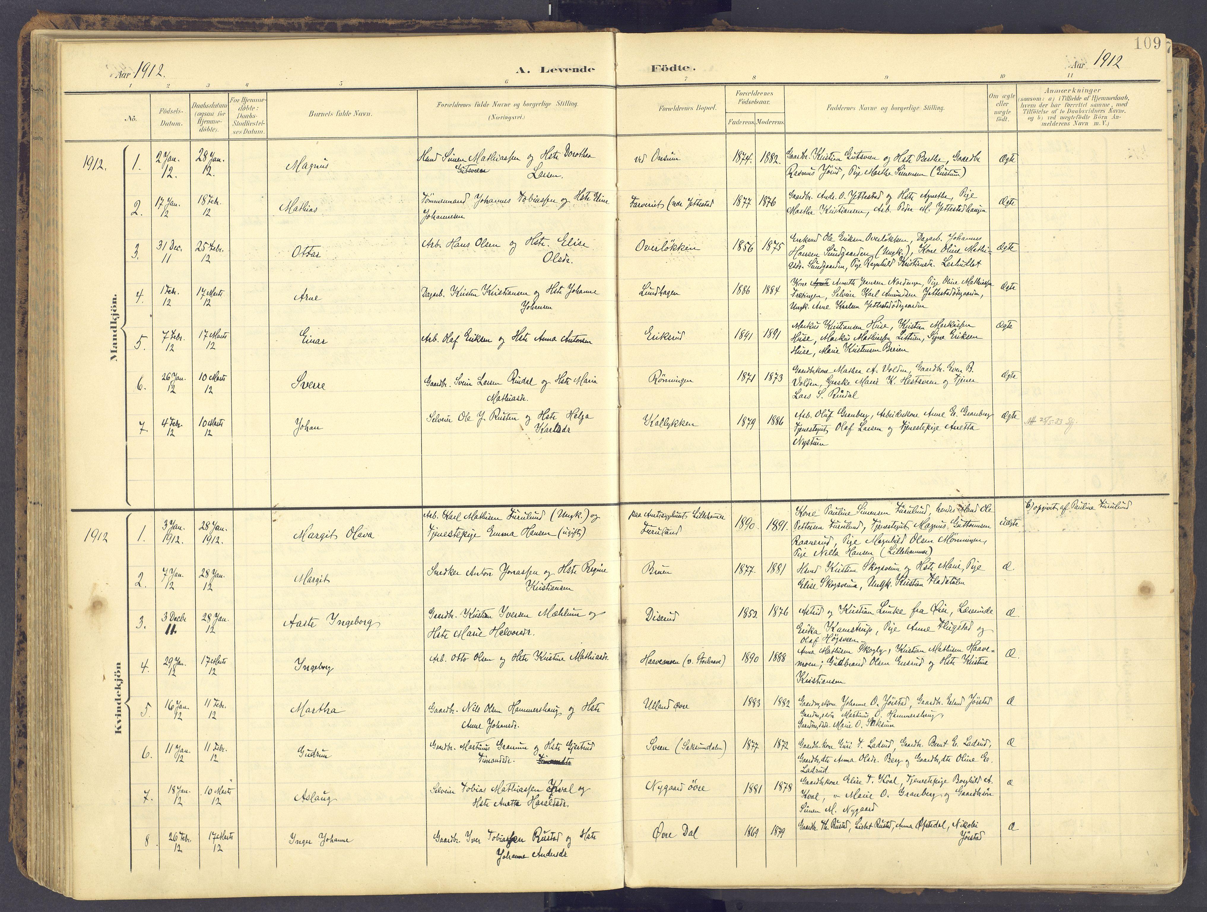SAH, Fåberg prestekontor, Ministerialbok nr. 12, 1899-1915, s. 109