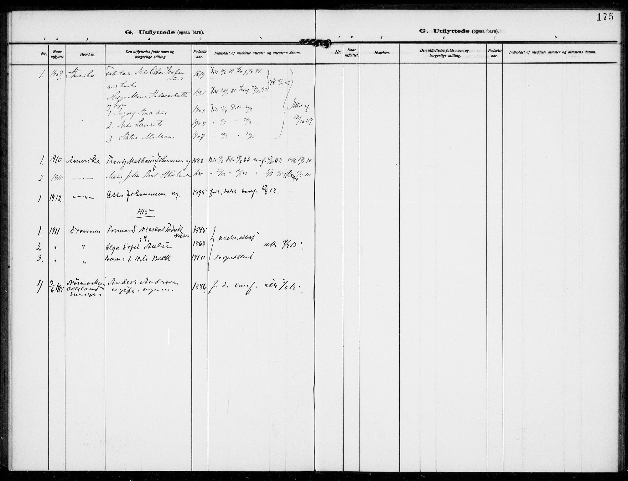 SAKO, Bamble kirkebøker, F/Fc/L0001: Ministerialbok nr. III 1, 1909-1916, s. 175