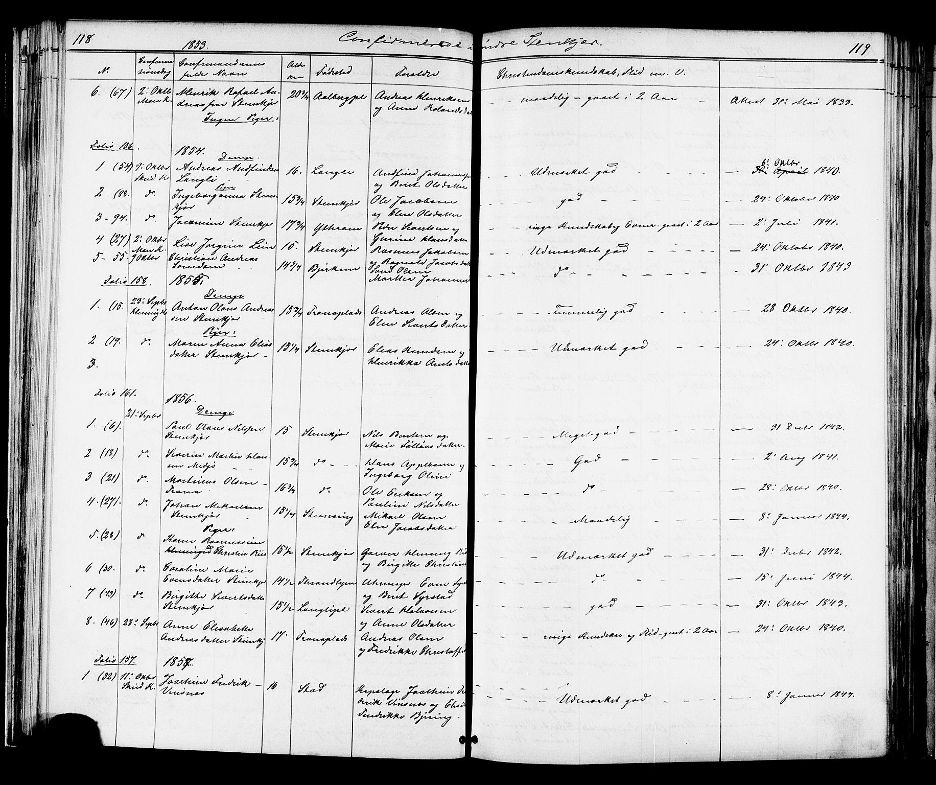 SAT, Ministerialprotokoller, klokkerbøker og fødselsregistre - Nord-Trøndelag, 739/L0367: Ministerialbok nr. 739A01 /1, 1838-1868, s. 118-119
