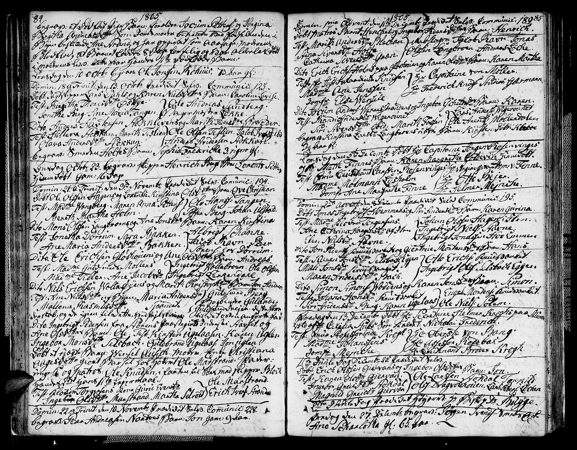SAT, Ministerialprotokoller, klokkerbøker og fødselsregistre - Sør-Trøndelag, 604/L0181: Ministerialbok nr. 604A02, 1798-1817, s. 84-85