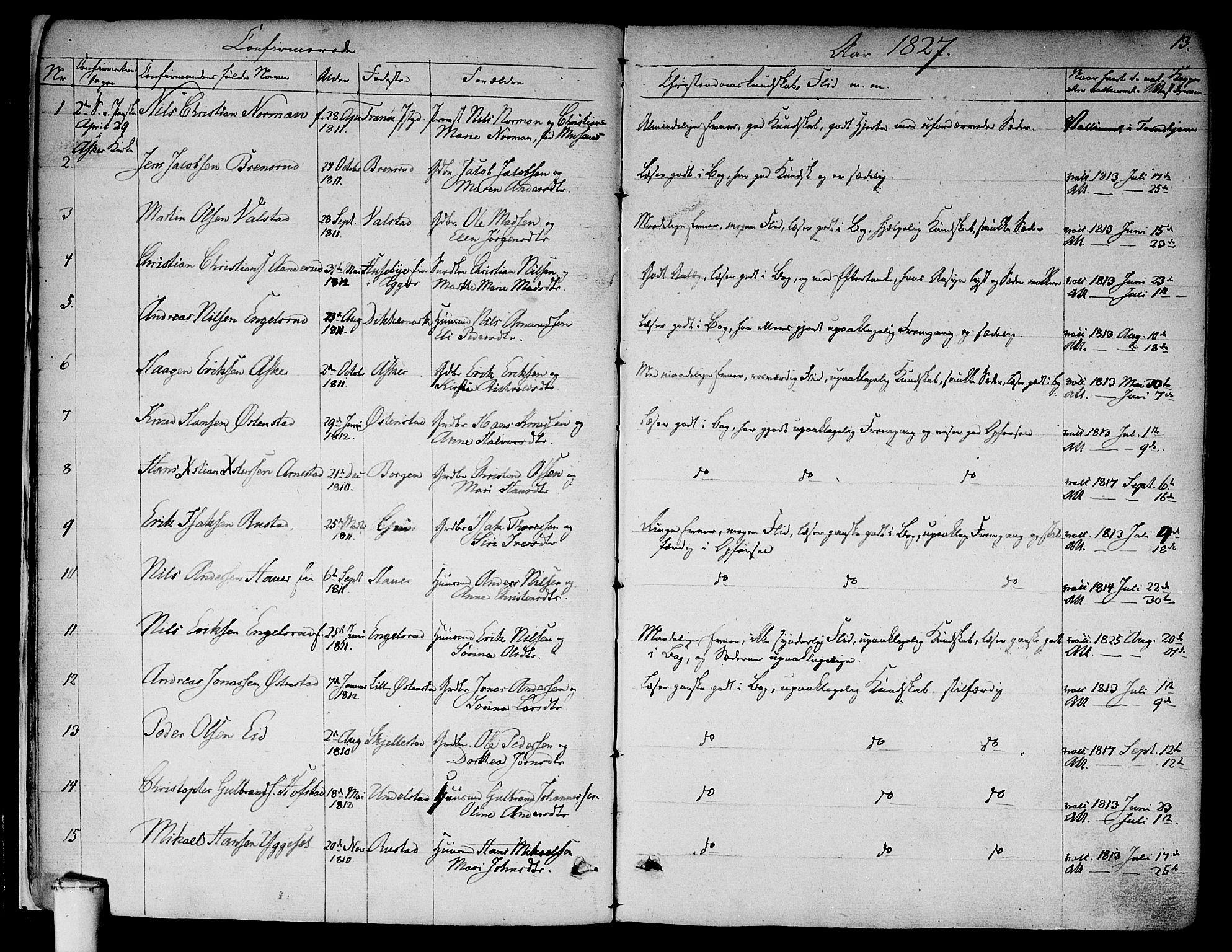 SAO, Asker prestekontor Kirkebøker, F/Fa/L0009: Ministerialbok nr. I 9, 1825-1878, s. 13