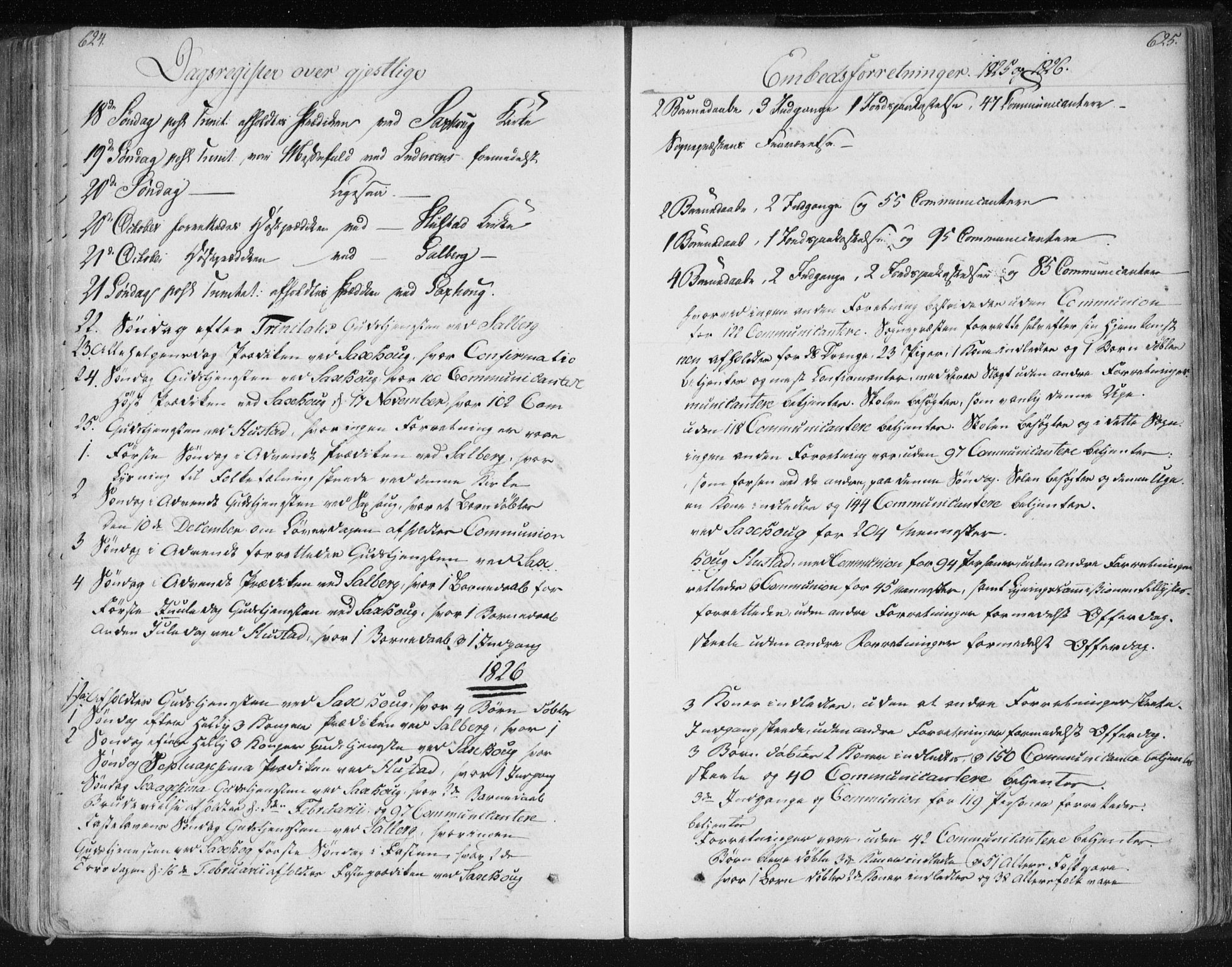 SAT, Ministerialprotokoller, klokkerbøker og fødselsregistre - Nord-Trøndelag, 730/L0276: Ministerialbok nr. 730A05, 1822-1830, s. 624-625