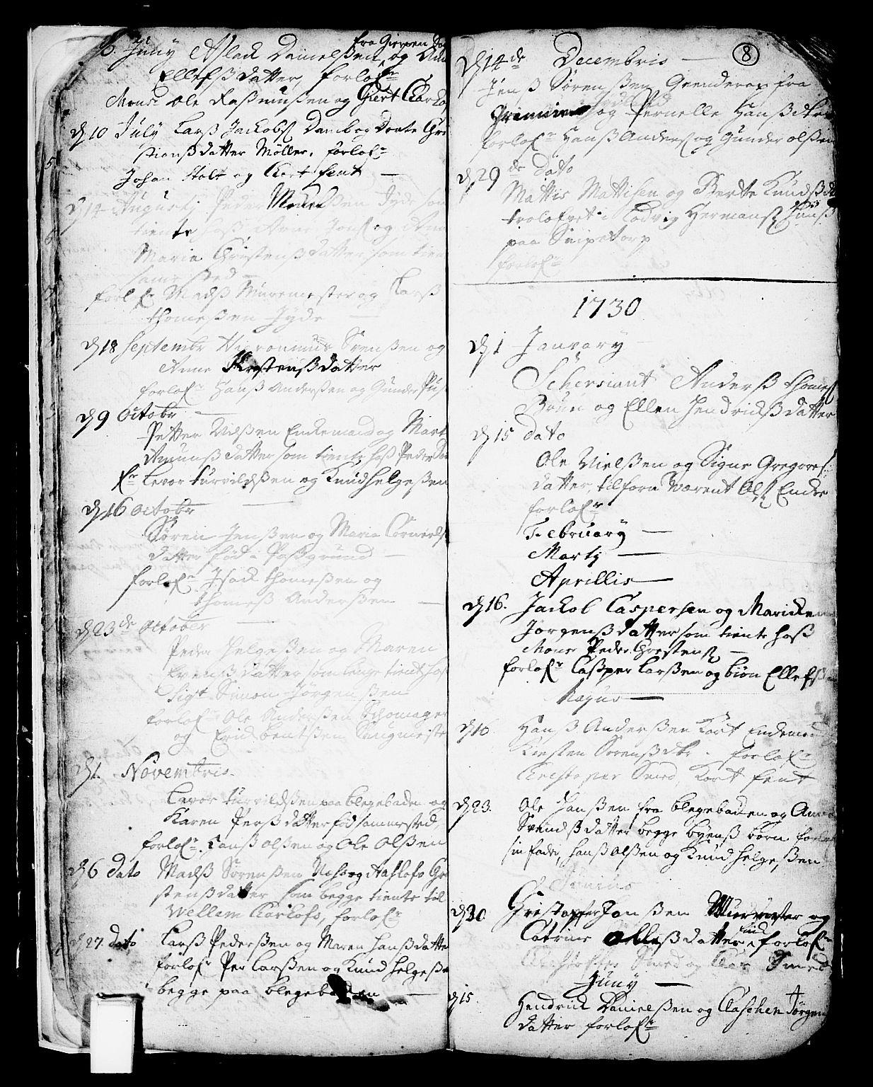 SAKO, Skien kirkebøker, F/Fa/L0002: Ministerialbok nr. 2, 1716-1757, s. 8