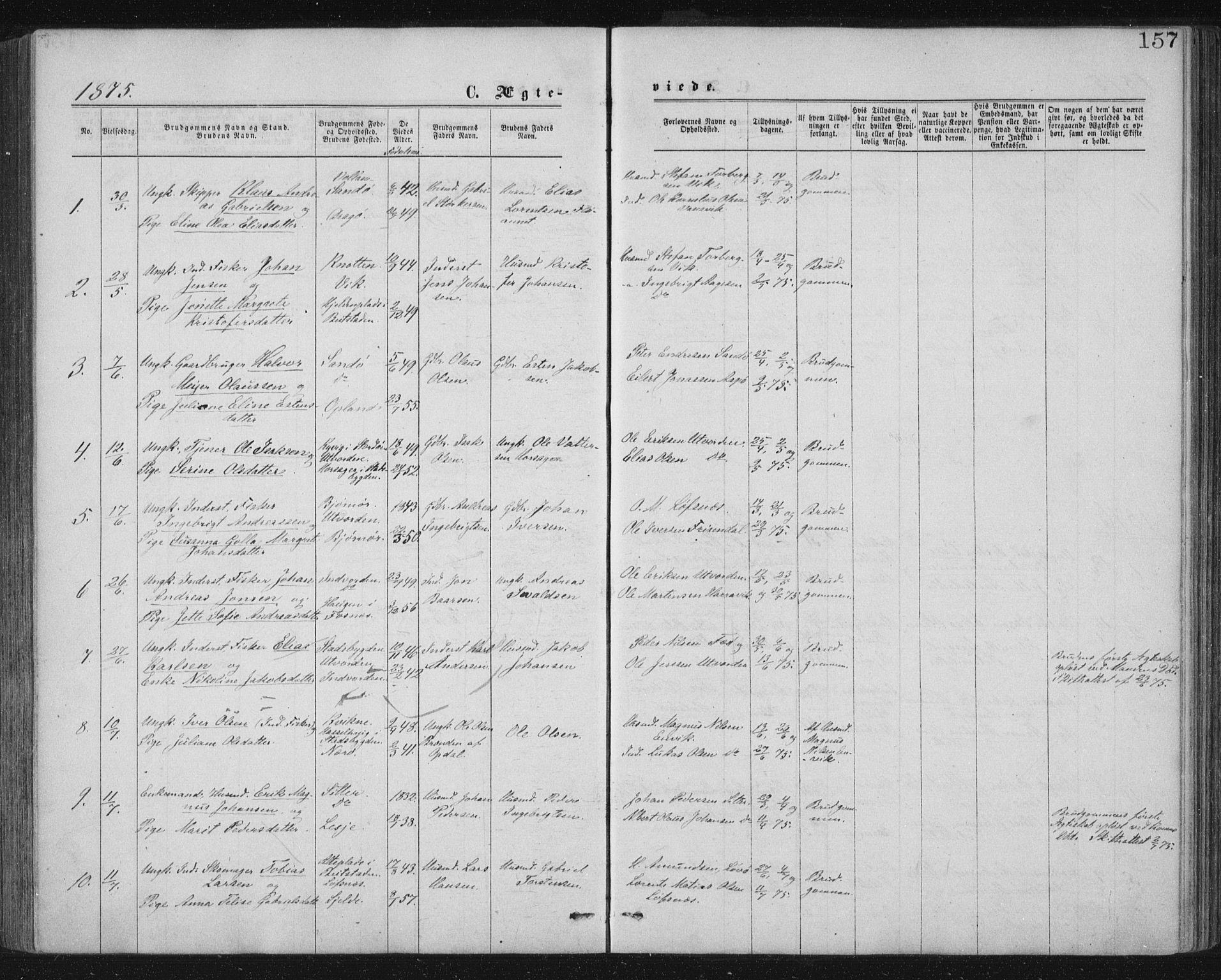 SAT, Ministerialprotokoller, klokkerbøker og fødselsregistre - Nord-Trøndelag, 771/L0596: Ministerialbok nr. 771A03, 1870-1884, s. 157