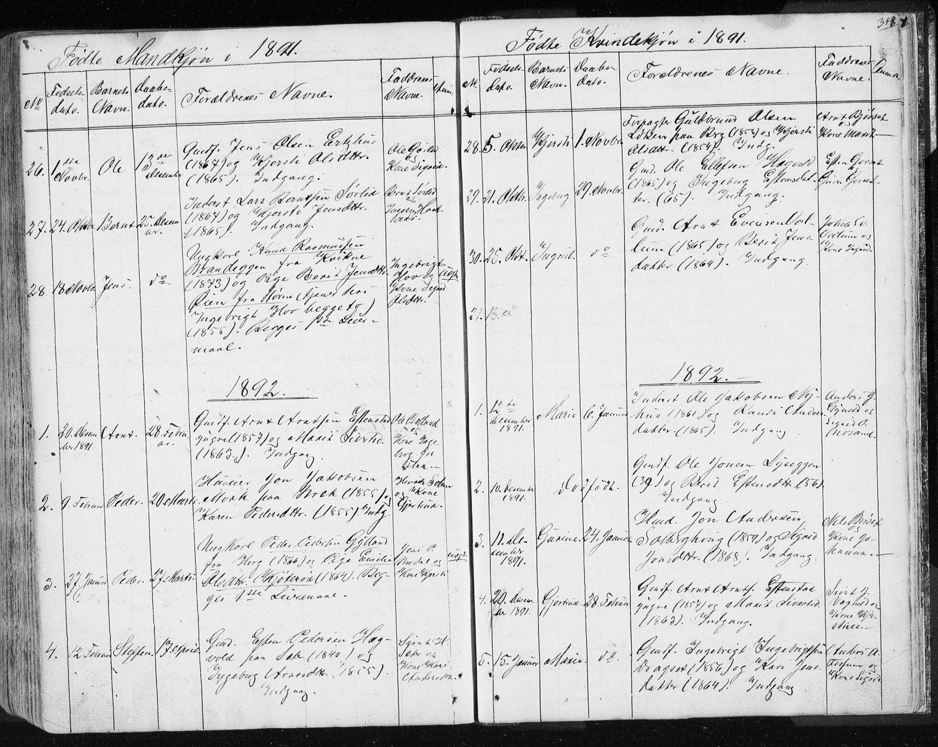 SAT, Ministerialprotokoller, klokkerbøker og fødselsregistre - Sør-Trøndelag, 689/L1043: Klokkerbok nr. 689C02, 1816-1892, s. 358