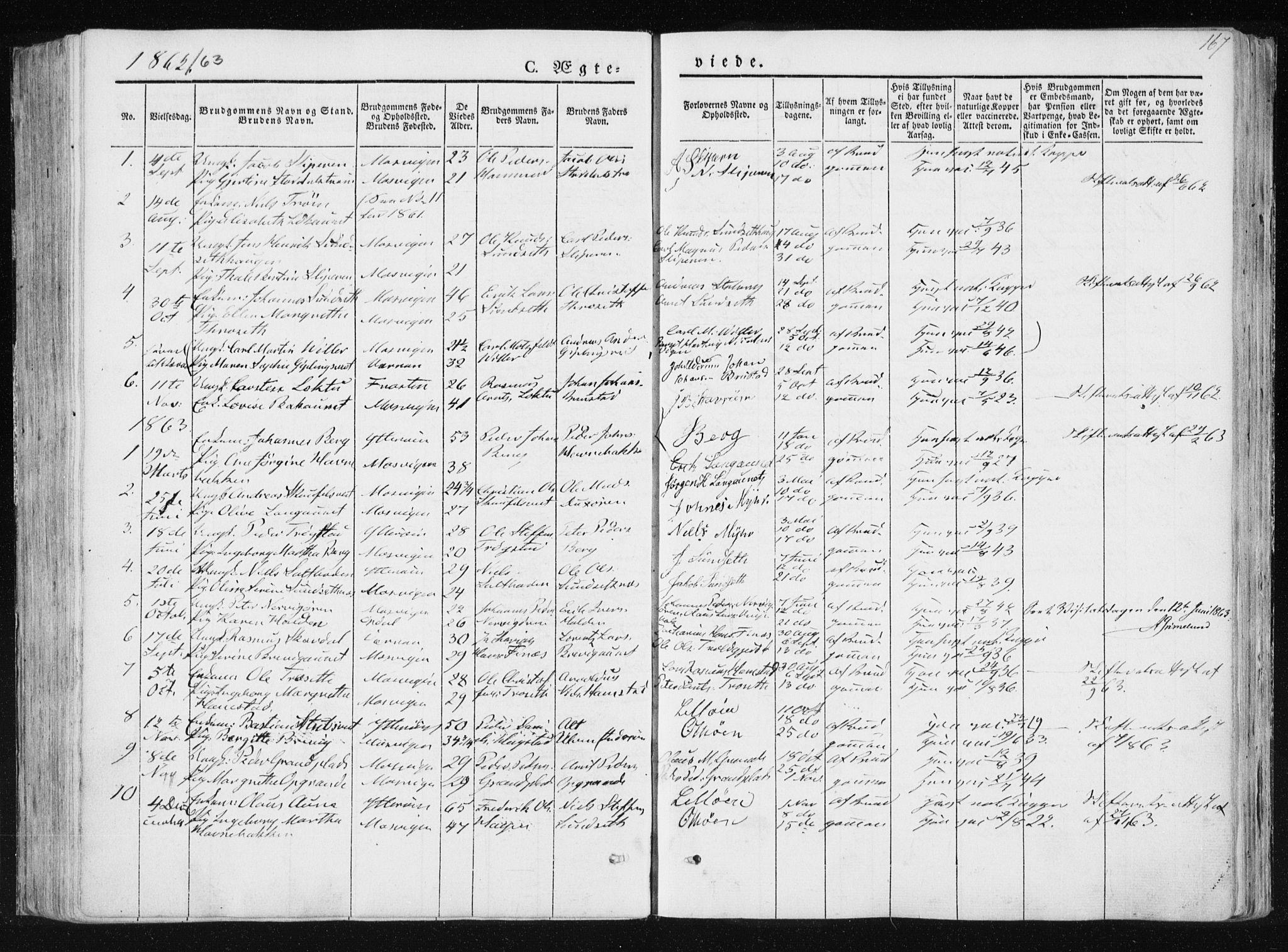 SAT, Ministerialprotokoller, klokkerbøker og fødselsregistre - Nord-Trøndelag, 733/L0323: Ministerialbok nr. 733A02, 1843-1870, s. 167