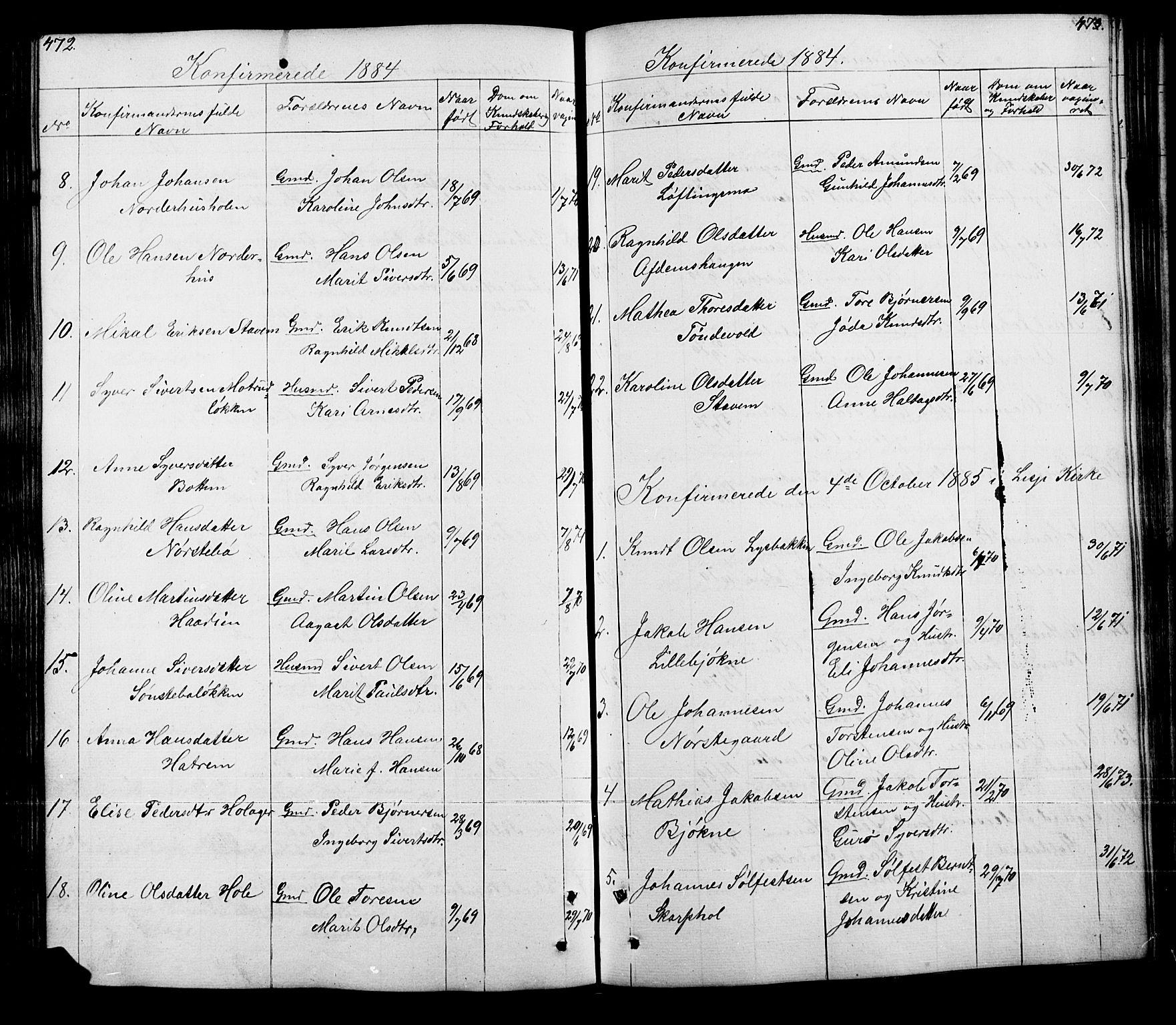 SAH, Lesja prestekontor, Klokkerbok nr. 5, 1850-1894, s. 472-473
