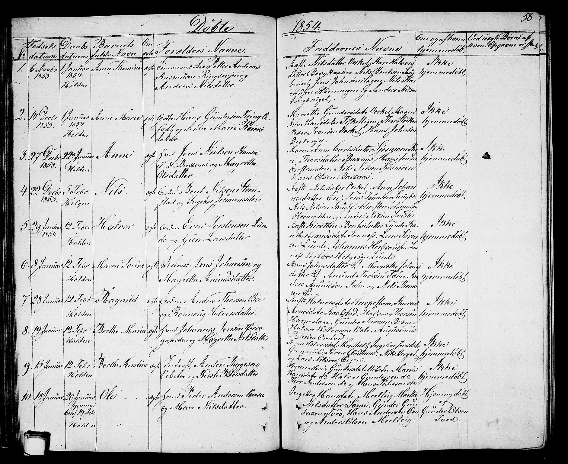 SAKO, Holla kirkebøker, G/Ga/L0003: Klokkerbok nr. I 3, 1849-1866, s. 58