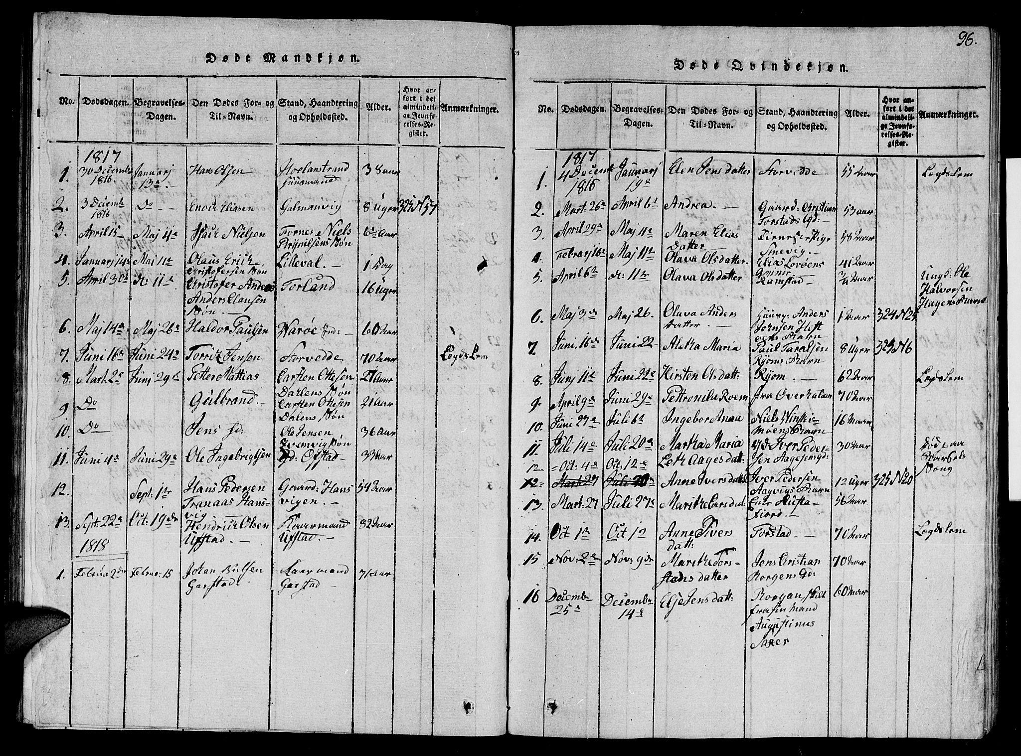 SAT, Ministerialprotokoller, klokkerbøker og fødselsregistre - Nord-Trøndelag, 784/L0679: Klokkerbok nr. 784C01 /1, 1816-1822, s. 96