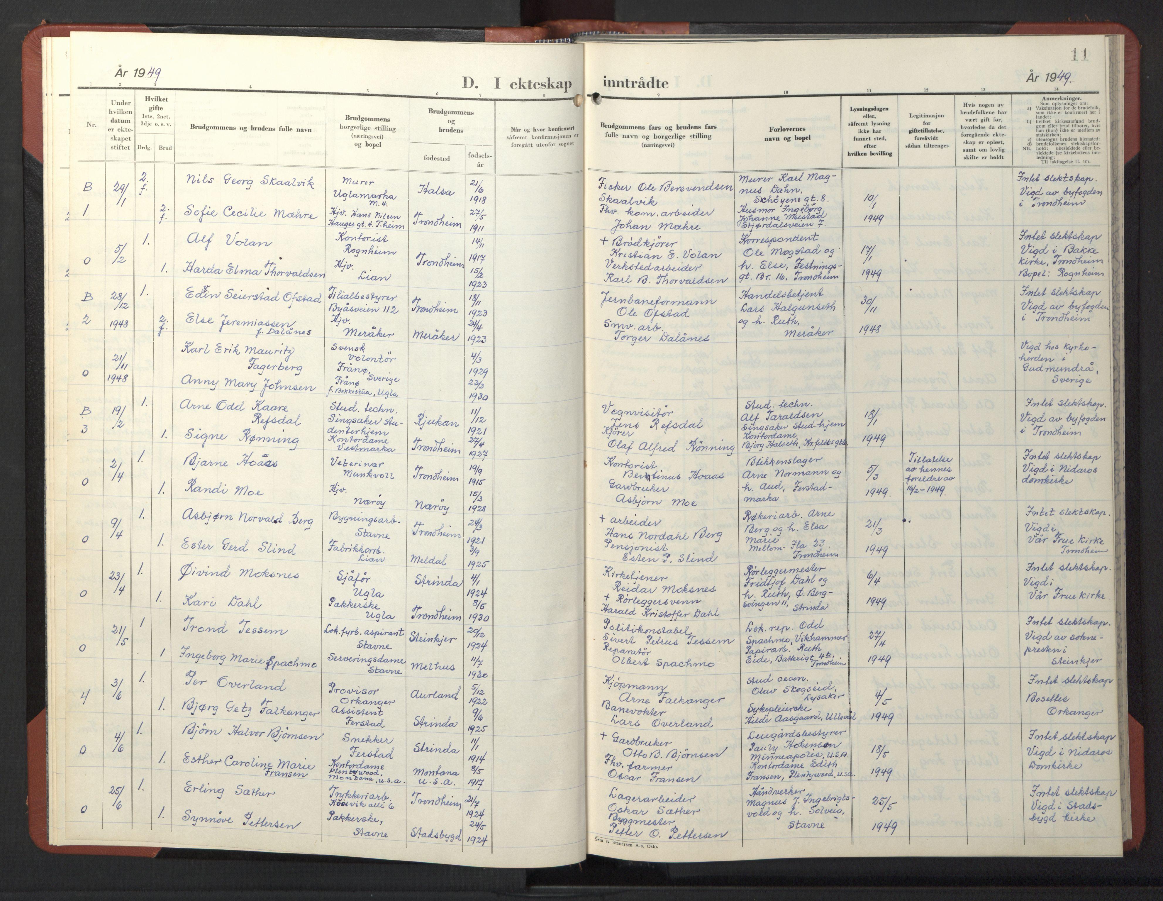 SAT, Ministerialprotokoller, klokkerbøker og fødselsregistre - Sør-Trøndelag, 611/L0359: Klokkerbok nr. 611C07, 1947-1950, s. 11
