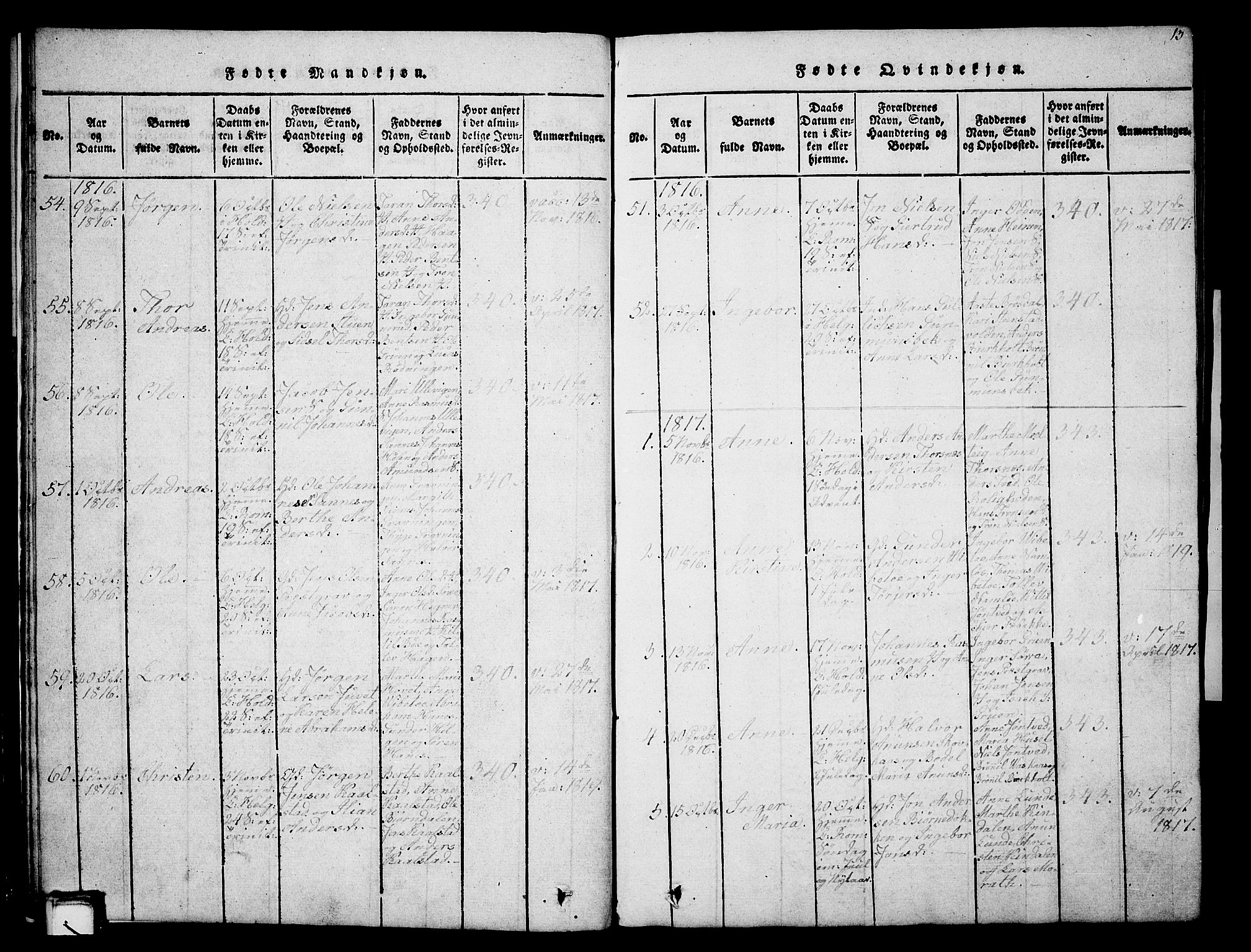 SAKO, Holla kirkebøker, G/Ga/L0001: Klokkerbok nr. I 1, 1814-1830, s. 13