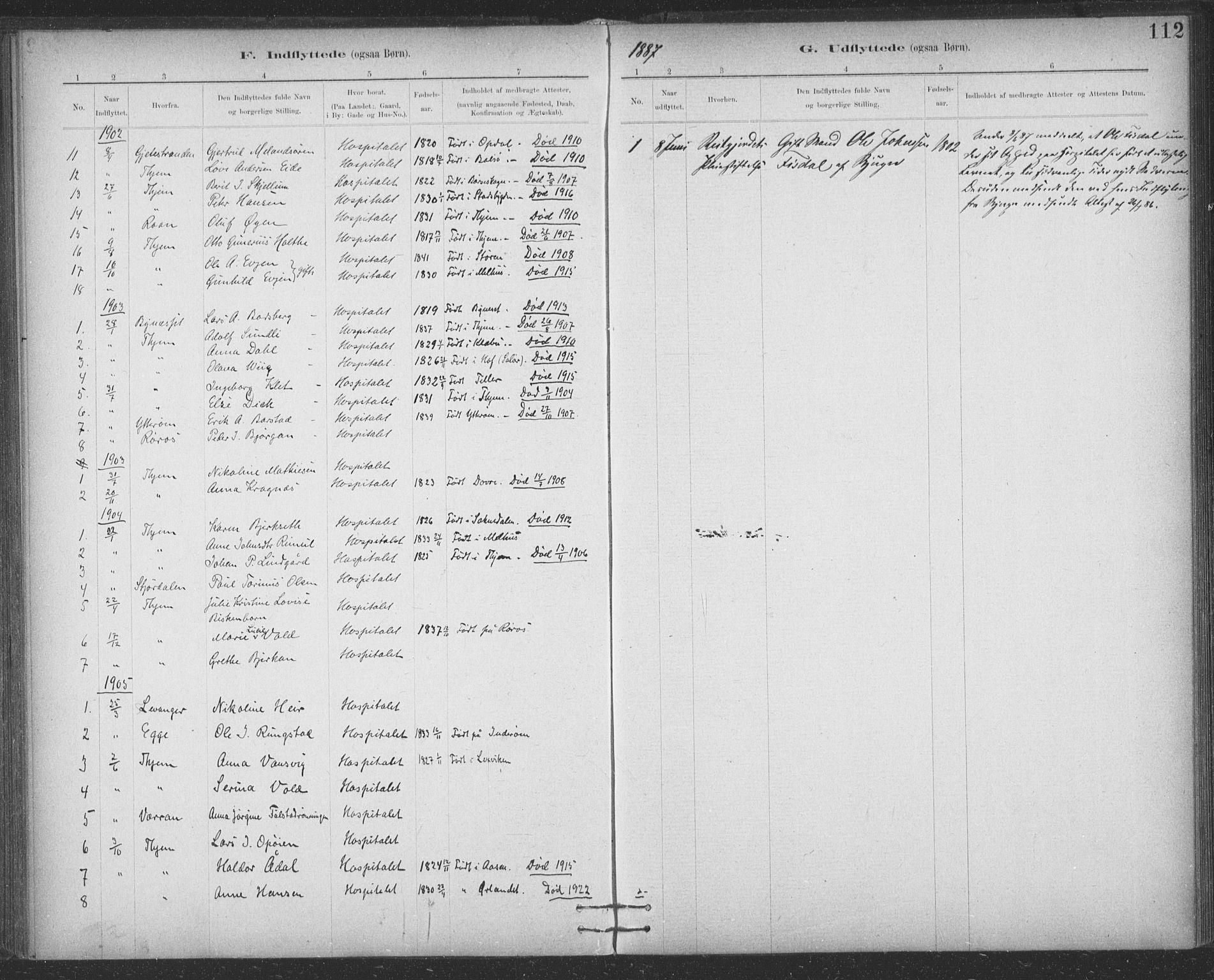 SAT, Ministerialprotokoller, klokkerbøker og fødselsregistre - Sør-Trøndelag, 623/L0470: Ministerialbok nr. 623A04, 1884-1938, s. 112