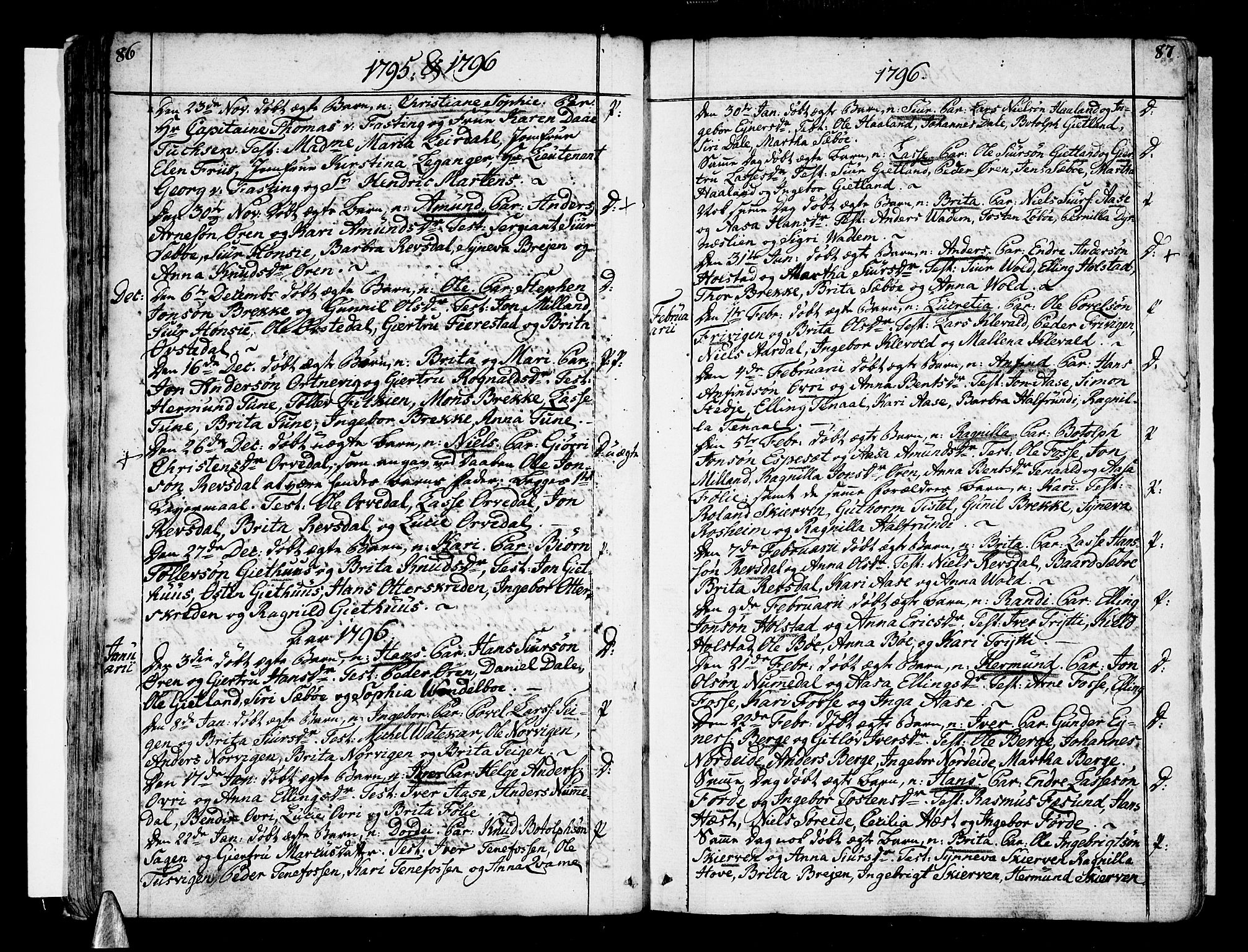 SAB, Vik Sokneprestembete, Ministerialbok nr. A 5, 1787-1820, s. 86-87