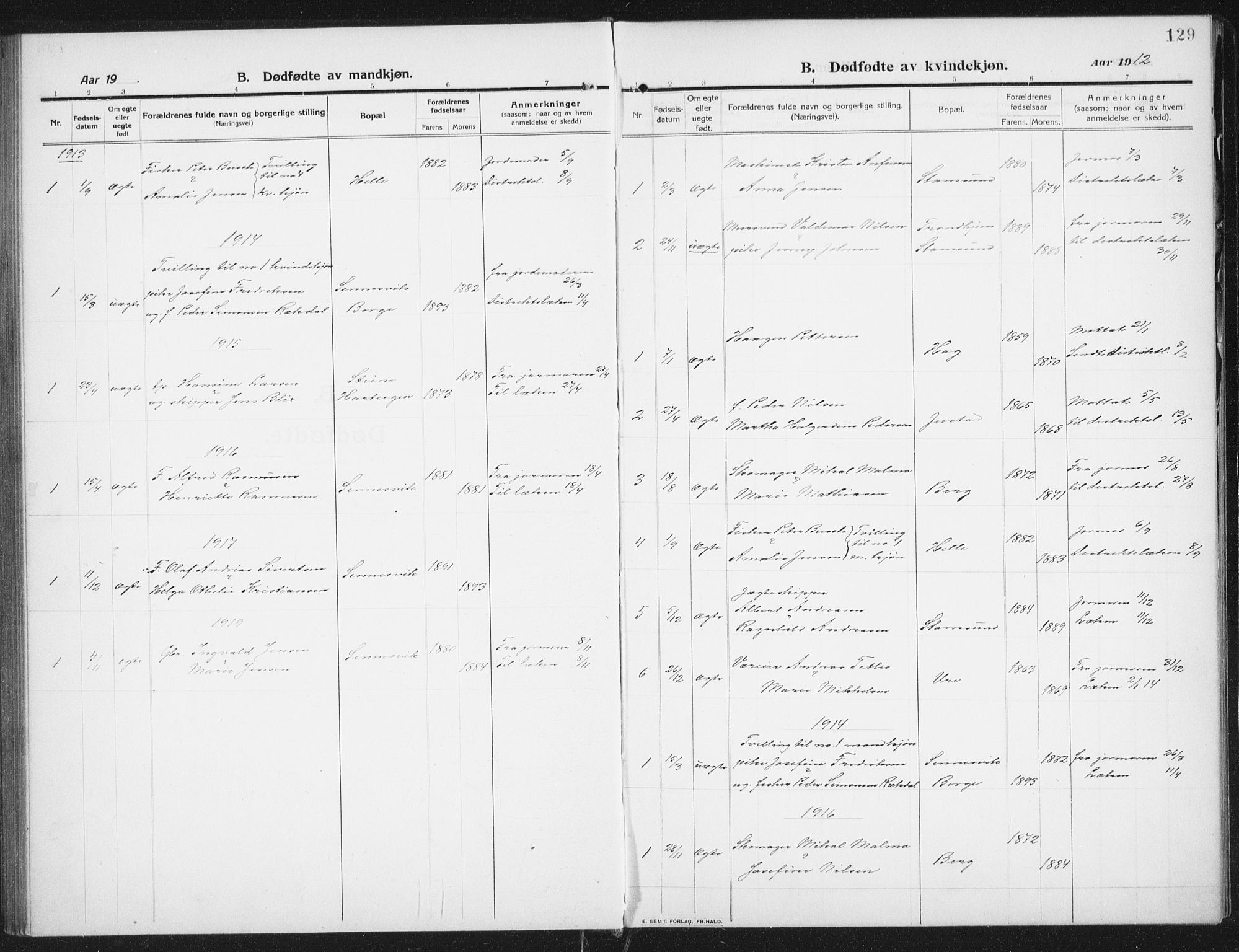 SAT, Ministerialprotokoller, klokkerbøker og fødselsregistre - Nordland, 882/L1183: Klokkerbok nr. 882C01, 1911-1938, s. 129
