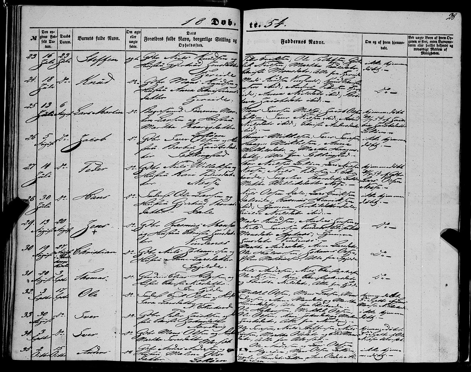 SAB, Fjell Sokneprestembete, H/Haa: Ministerialbok nr. A 2, 1847-1864, s. 28