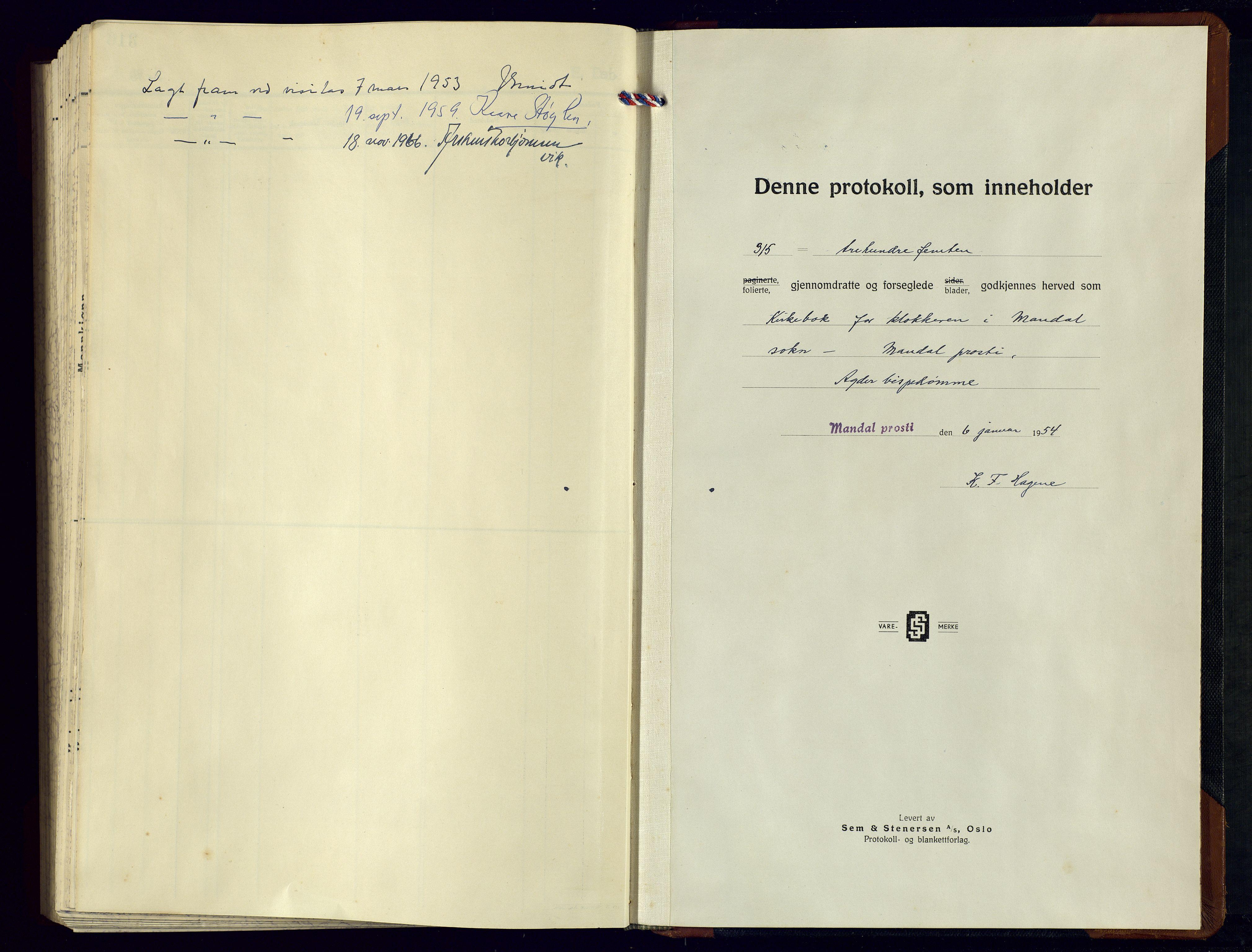 SAK, Mandal sokneprestkontor, F/Fb/Fbc/L0003: Klokkerbok nr. B 3, 1948-1961, s. upaginert