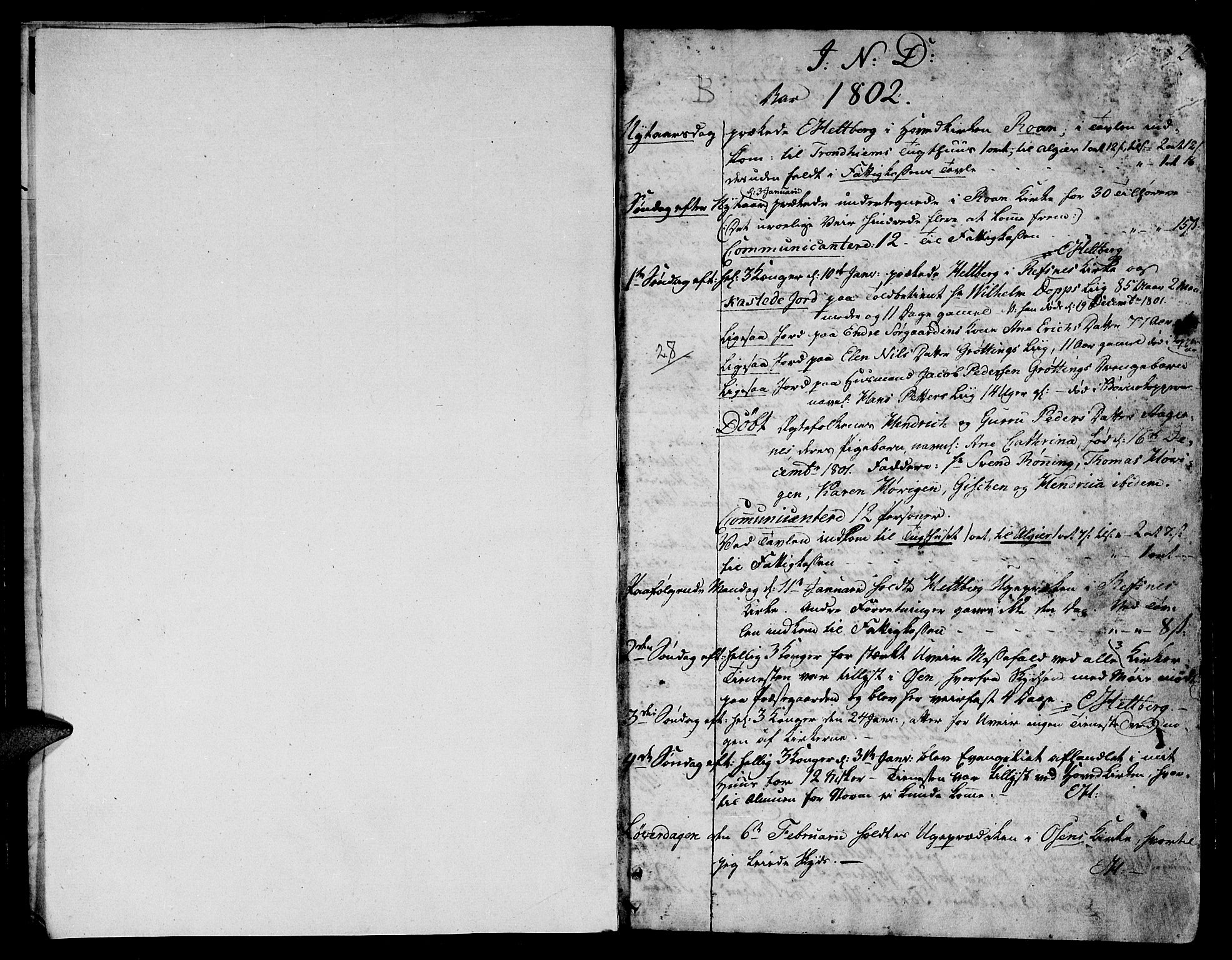 SAT, Ministerialprotokoller, klokkerbøker og fødselsregistre - Sør-Trøndelag, 657/L0701: Ministerialbok nr. 657A02, 1802-1831, s. 1