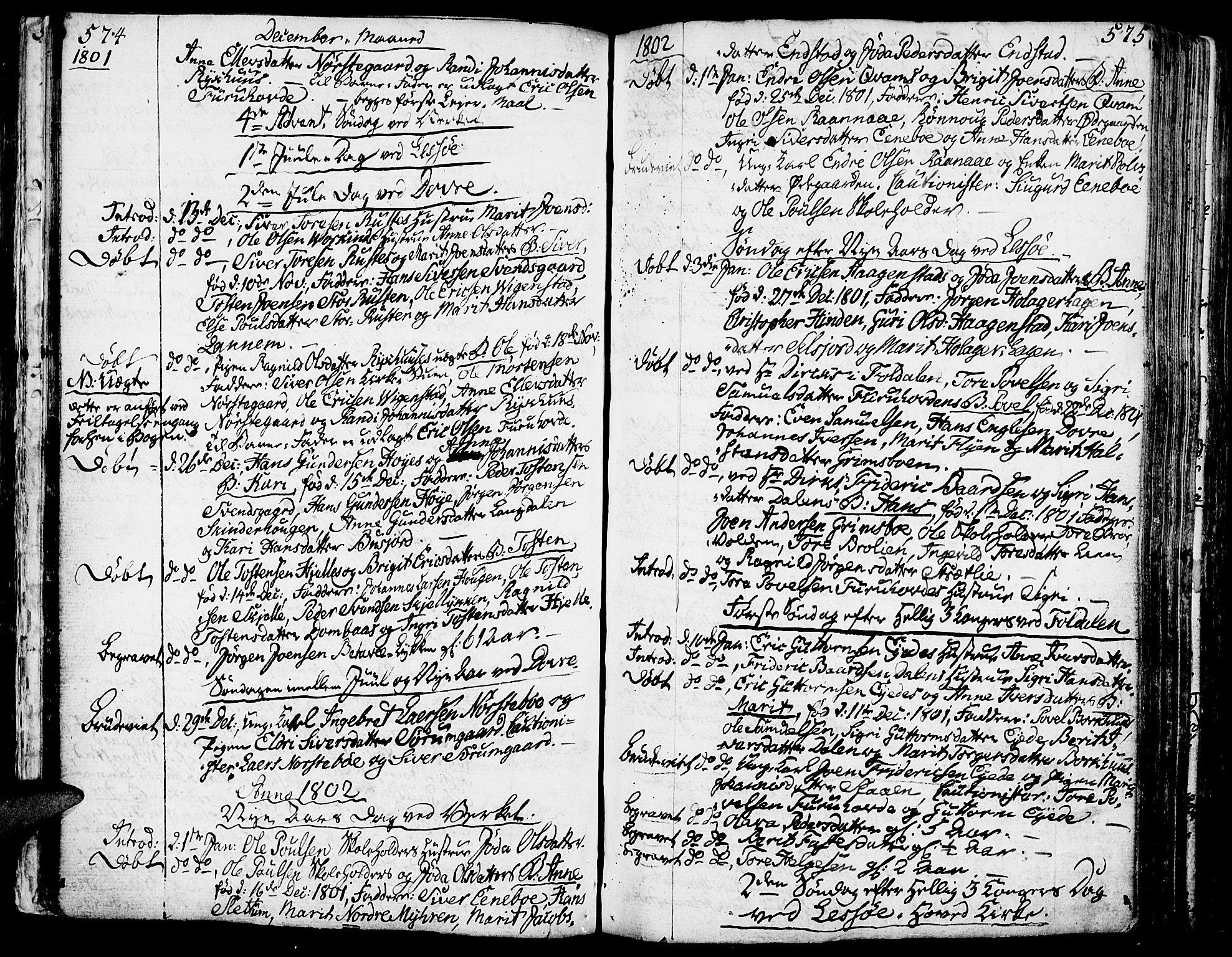 SAH, Lesja prestekontor, Ministerialbok nr. 3, 1777-1819, s. 574-575