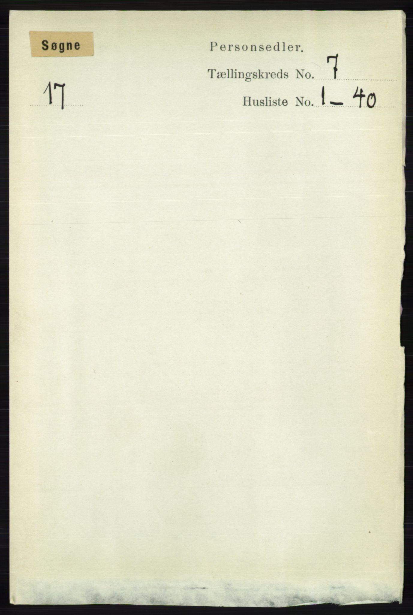 RA, Folketelling 1891 for 1018 Søgne herred, 1891, s. 1540