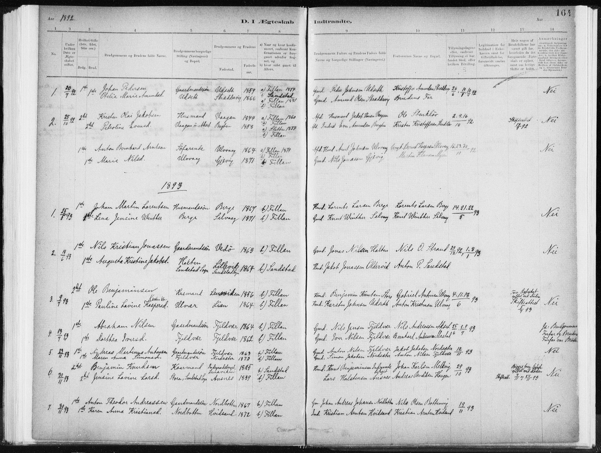 SAT, Ministerialprotokoller, klokkerbøker og fødselsregistre - Sør-Trøndelag, 637/L0558: Ministerialbok nr. 637A01, 1882-1899, s. 164