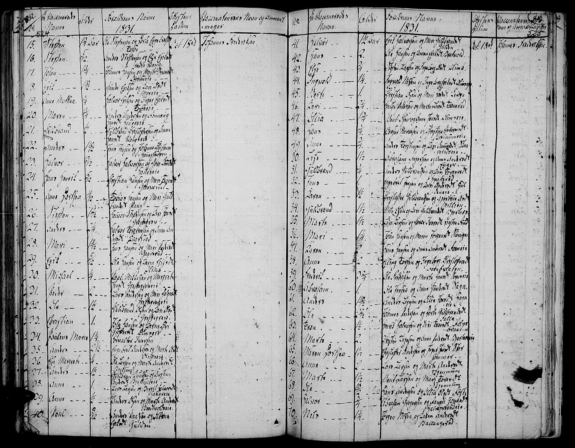 SAH, Jevnaker prestekontor, Ministerialbok nr. 4, 1800-1861, s. 524-525