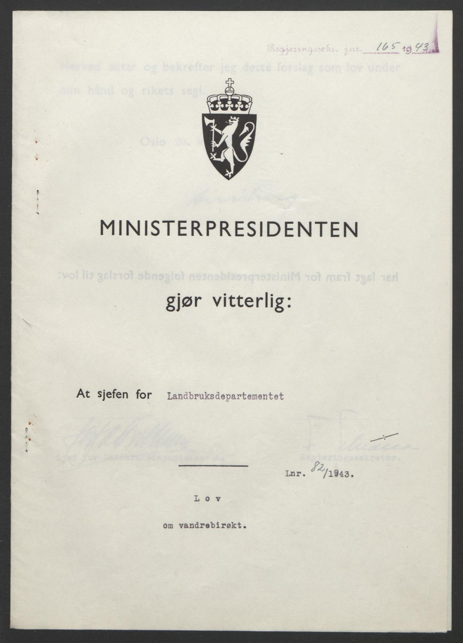 RA, NS-administrasjonen 1940-1945 (Statsrådsekretariatet, de kommisariske statsråder mm), D/Db/L0099: Lover, 1943, s. 374