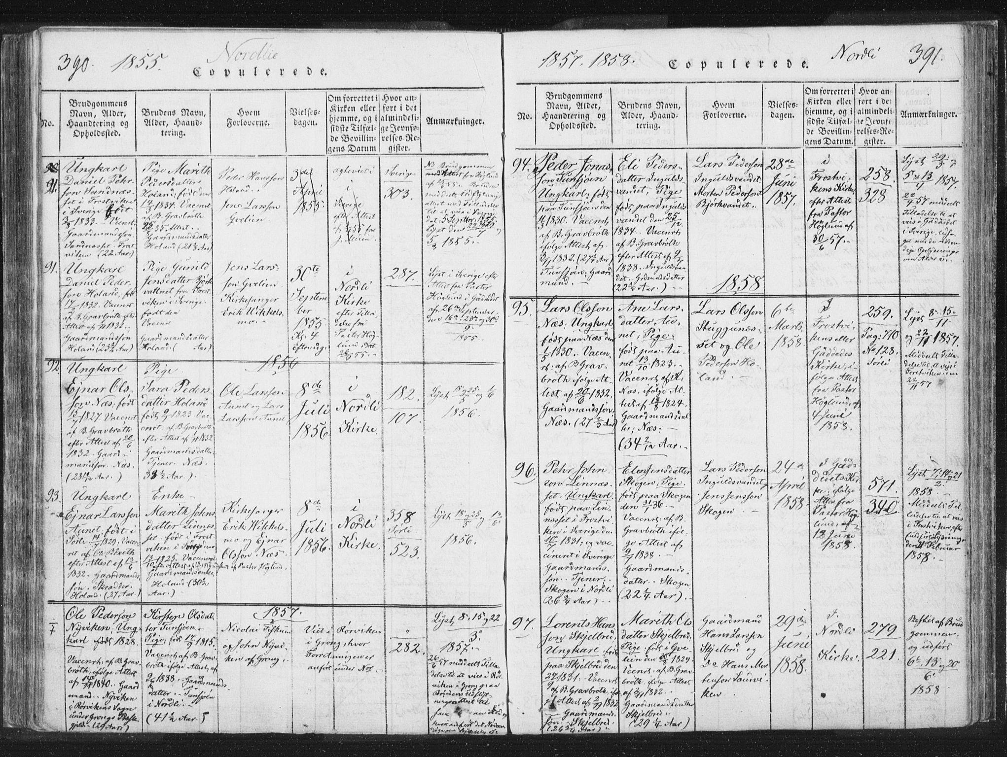 SAT, Ministerialprotokoller, klokkerbøker og fødselsregistre - Nord-Trøndelag, 755/L0491: Ministerialbok nr. 755A01 /1, 1817-1864, s. 390-391