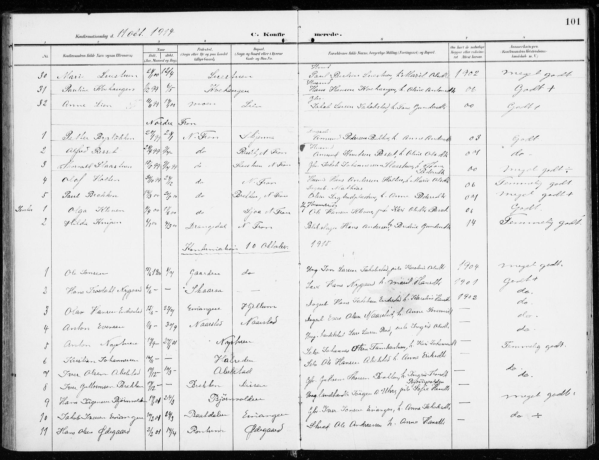 SAH, Sel prestekontor, Ministerialbok nr. 2, 1905-1919, s. 101
