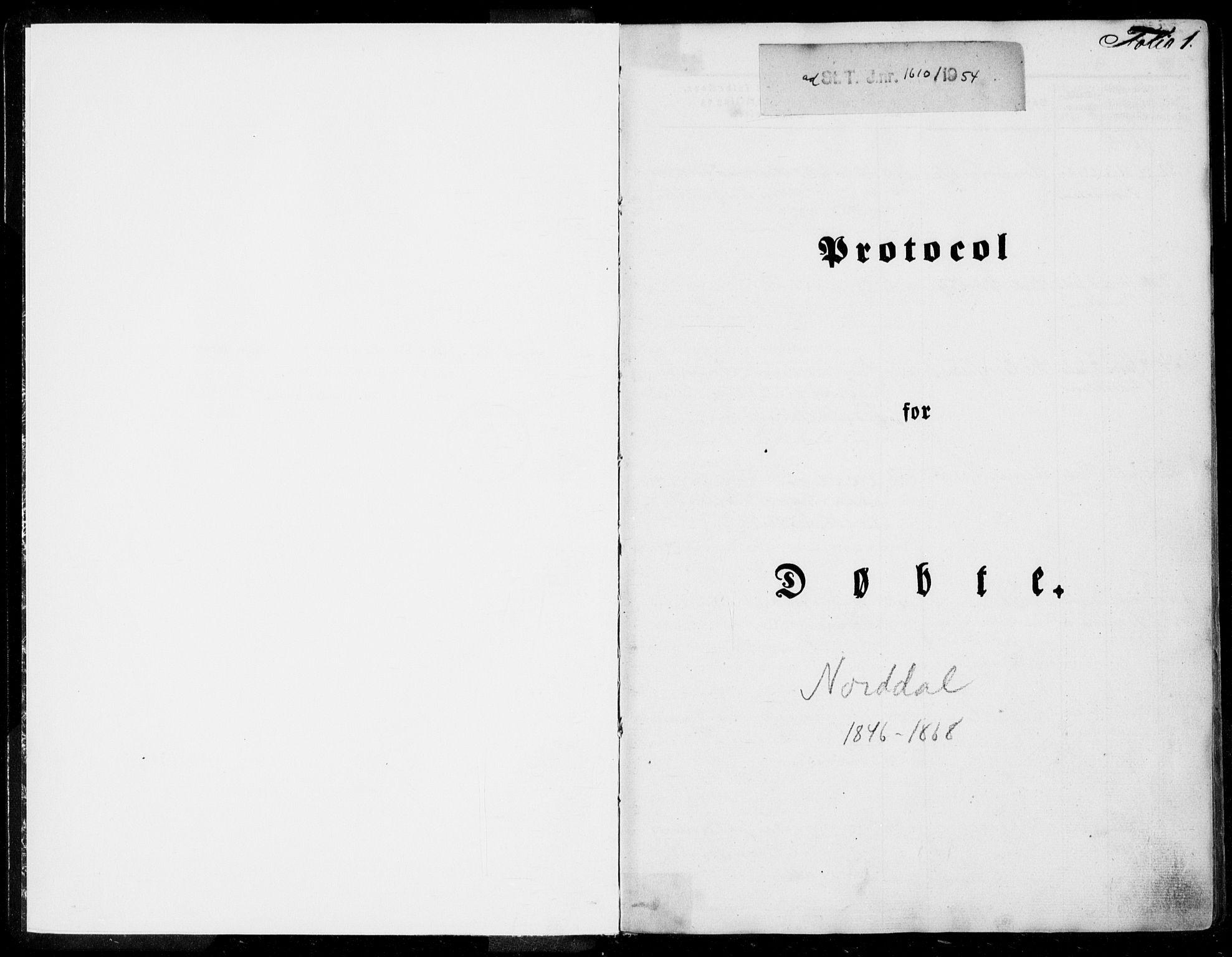 SAT, Ministerialprotokoller, klokkerbøker og fødselsregistre - Møre og Romsdal, 519/L0249: Ministerialbok nr. 519A08, 1846-1868, s. 1