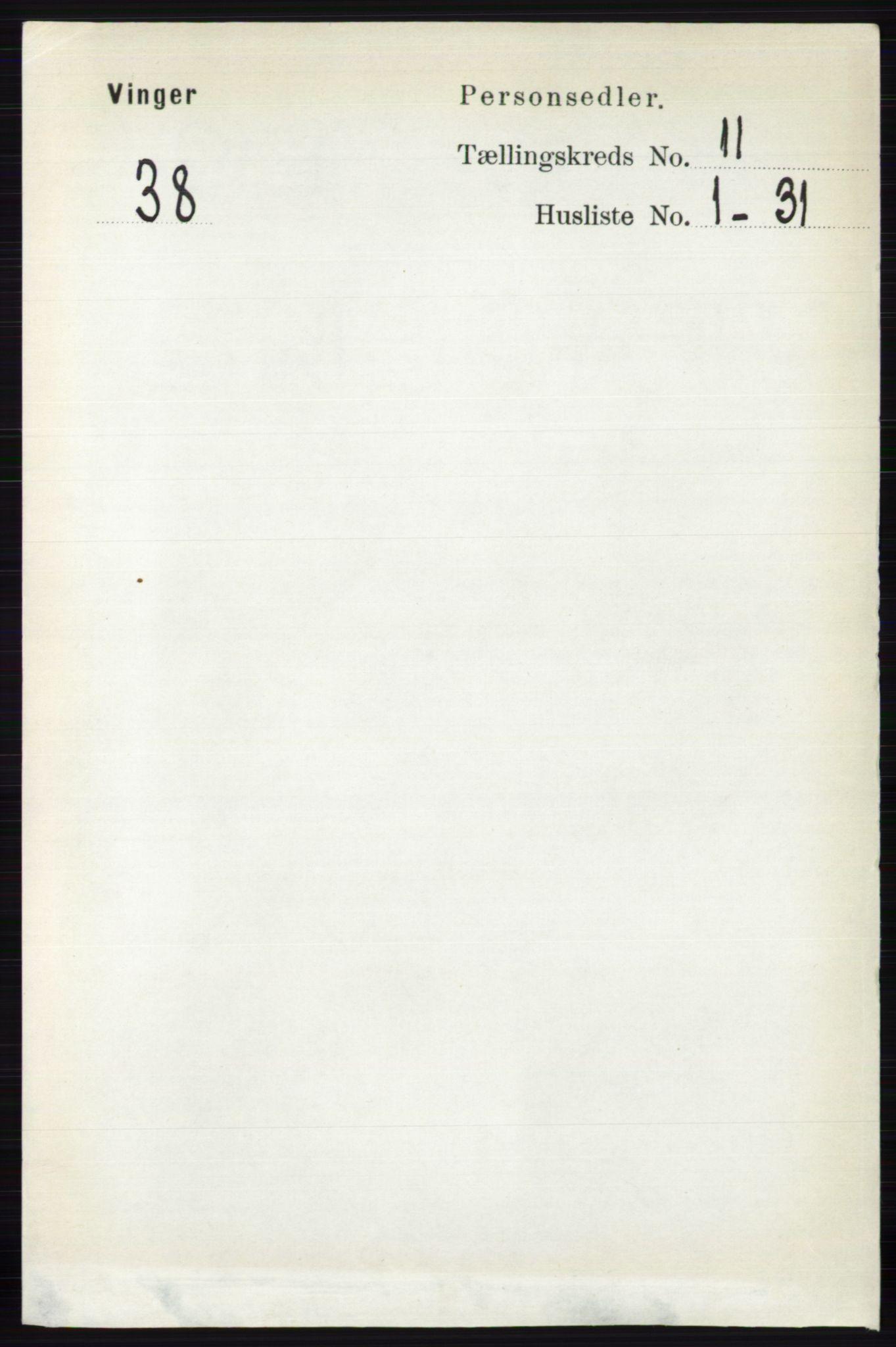 RA, Folketelling 1891 for 0421 Vinger herred, 1891, s. 5346
