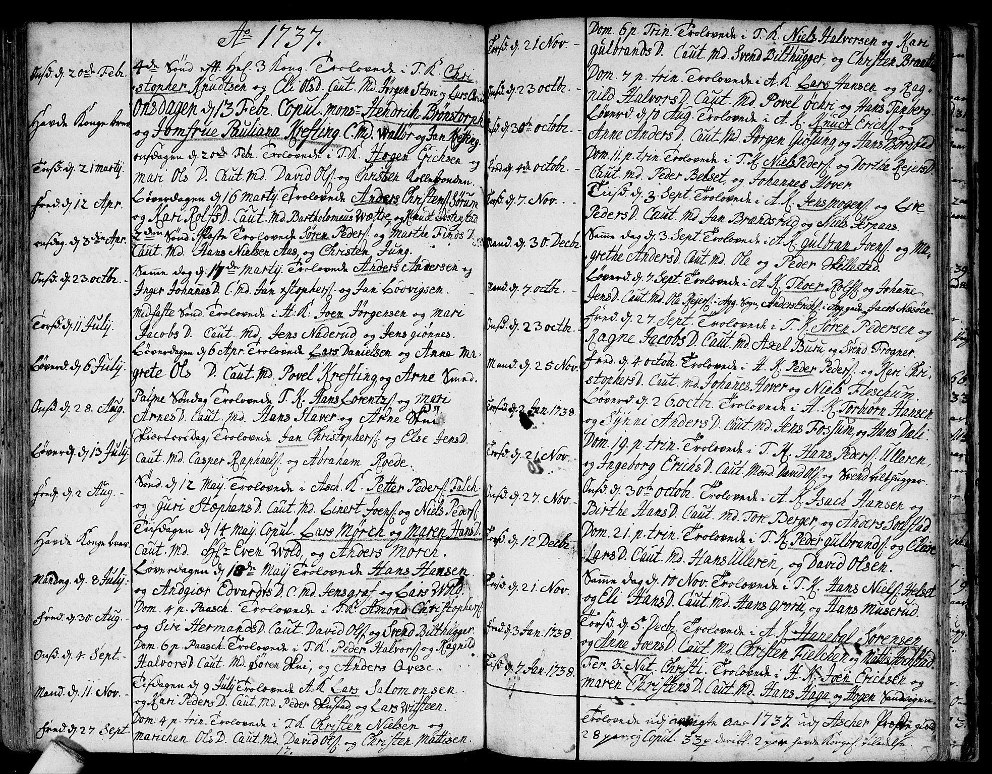 SAO, Asker prestekontor Kirkebøker, F/Fa/L0001: Ministerialbok nr. I 1, 1726-1744, s. 88