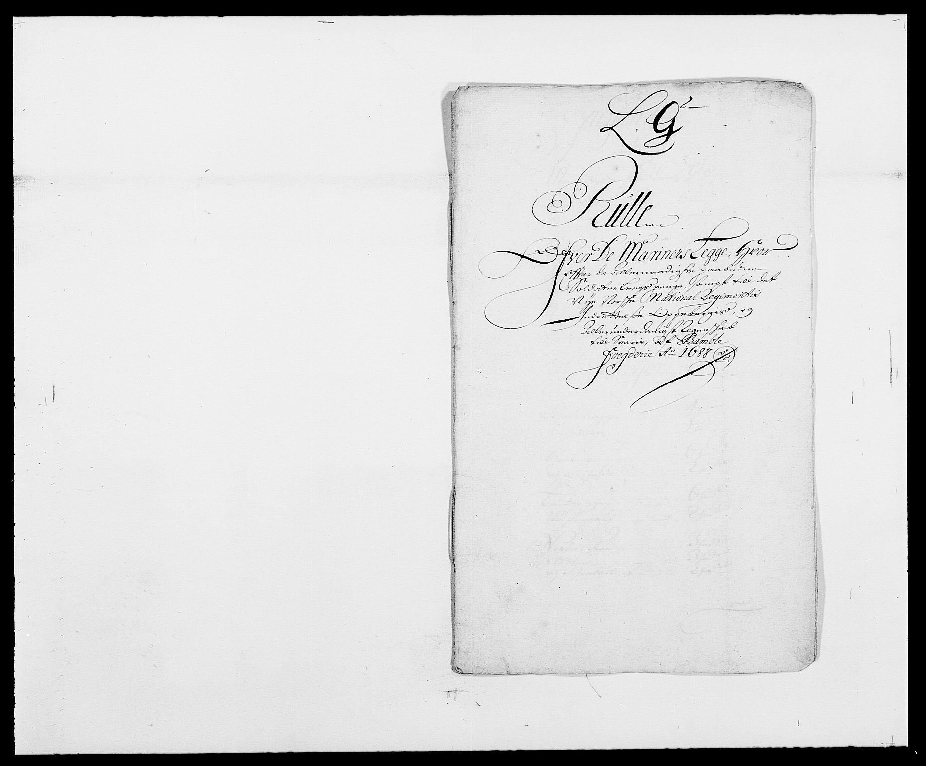 RA, Rentekammeret inntil 1814, Reviderte regnskaper, Fogderegnskap, R34/L2050: Fogderegnskap Bamble, 1688-1691, s. 125