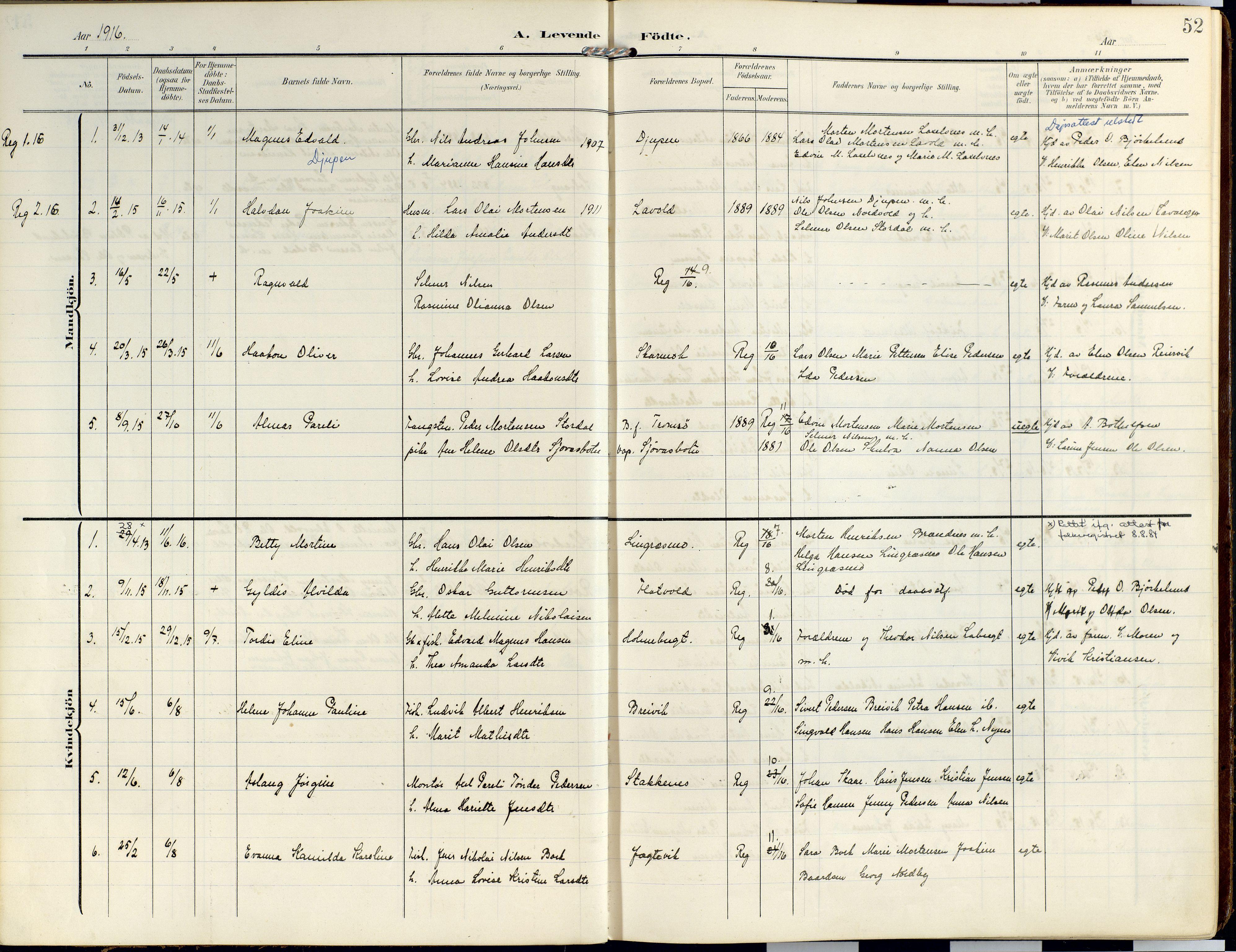 SATØ, Lyngen sokneprestembete, Ministerialbok nr. 14, 1905-1920, s. 52