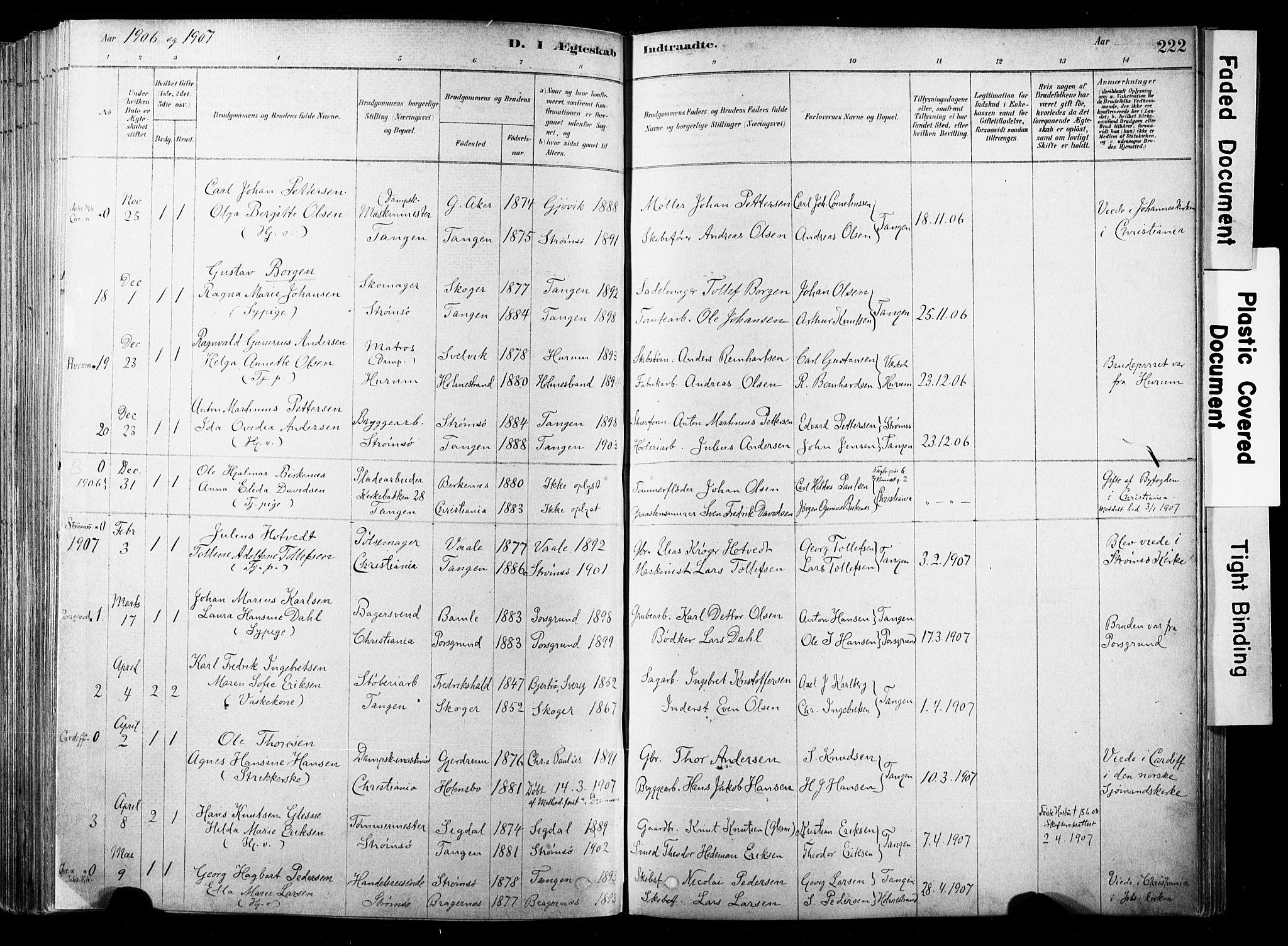SAKO, Strømsø kirkebøker, F/Fb/L0006: Ministerialbok nr. II 6, 1879-1910, s. 222