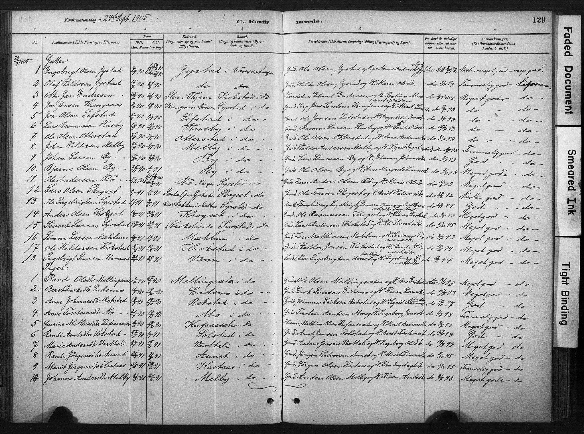 SAT, Ministerialprotokoller, klokkerbøker og fødselsregistre - Sør-Trøndelag, 667/L0795: Ministerialbok nr. 667A03, 1879-1907, s. 129