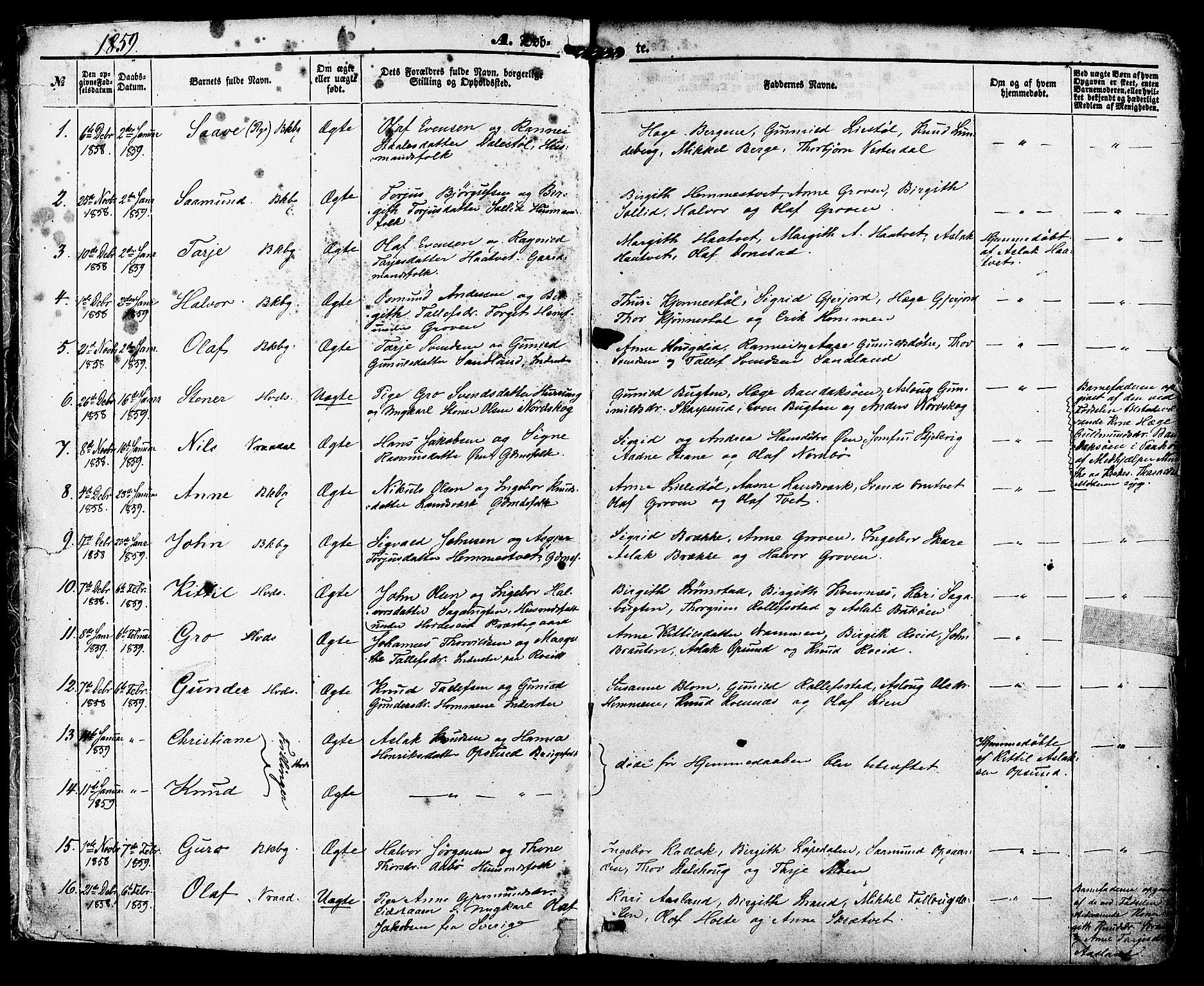 SAKO, Kviteseid kirkebøker, F/Fa/L0007: Ministerialbok nr. I 7, 1859-1881, s. 1