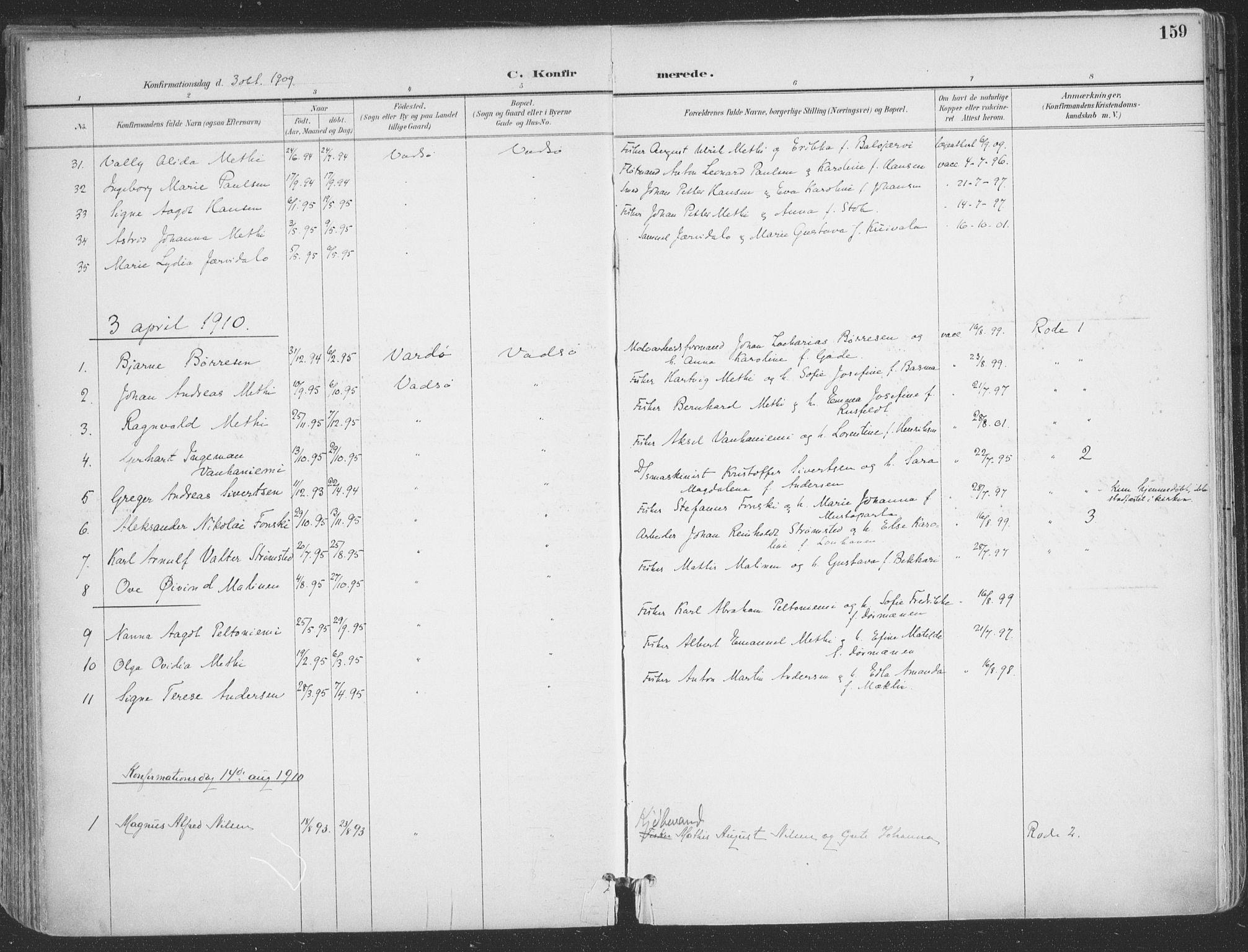 SATØ, Vadsø sokneprestkontor, H/Ha/L0007kirke: Ministerialbok nr. 7, 1896-1916, s. 159