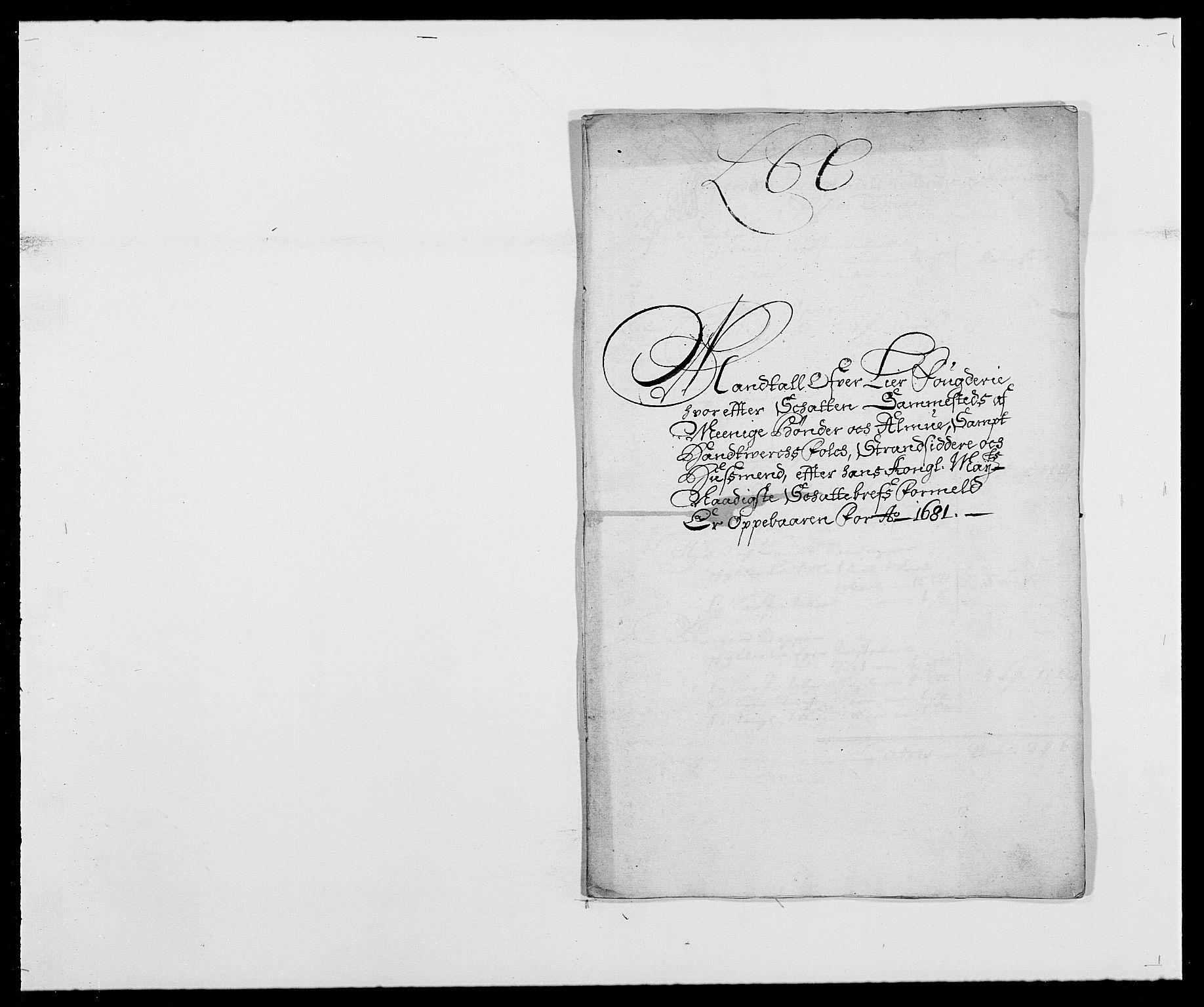 RA, Rentekammeret inntil 1814, Reviderte regnskaper, Fogderegnskap, R27/L1686: Fogderegnskap Lier, 1678-1686, s. 311