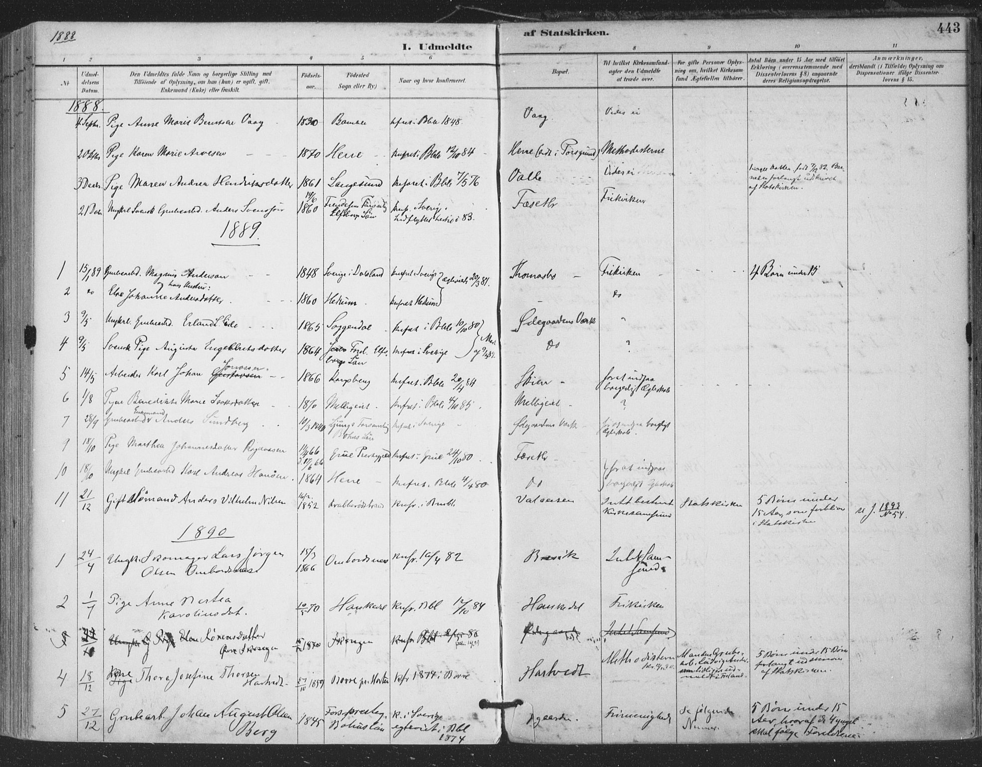 SAKO, Bamble kirkebøker, F/Fa/L0008: Ministerialbok nr. I 8, 1888-1900, s. 443