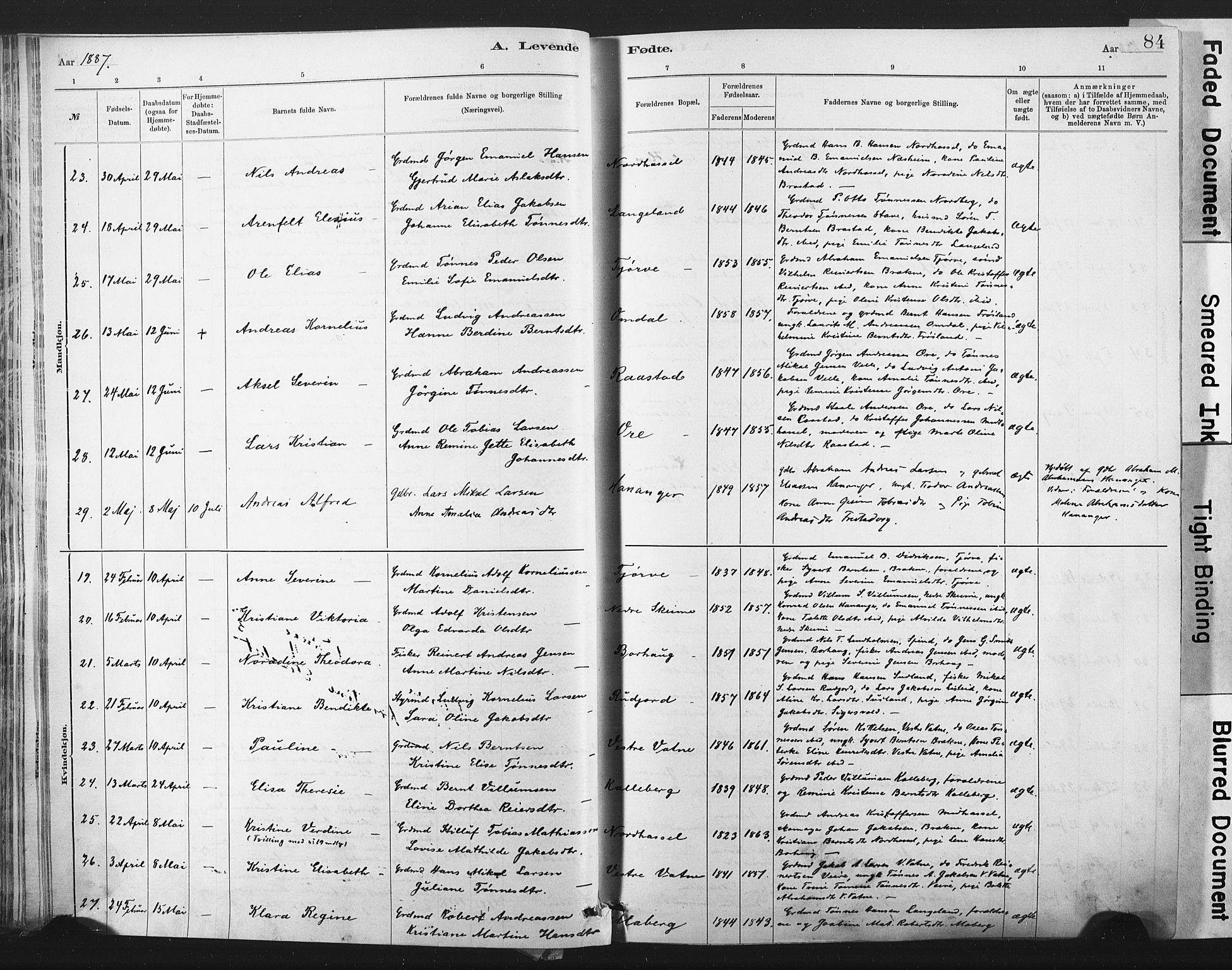 SAK, Lista sokneprestkontor, F/Fa/L0012: Ministerialbok nr. A 12, 1879-1903, s. 84