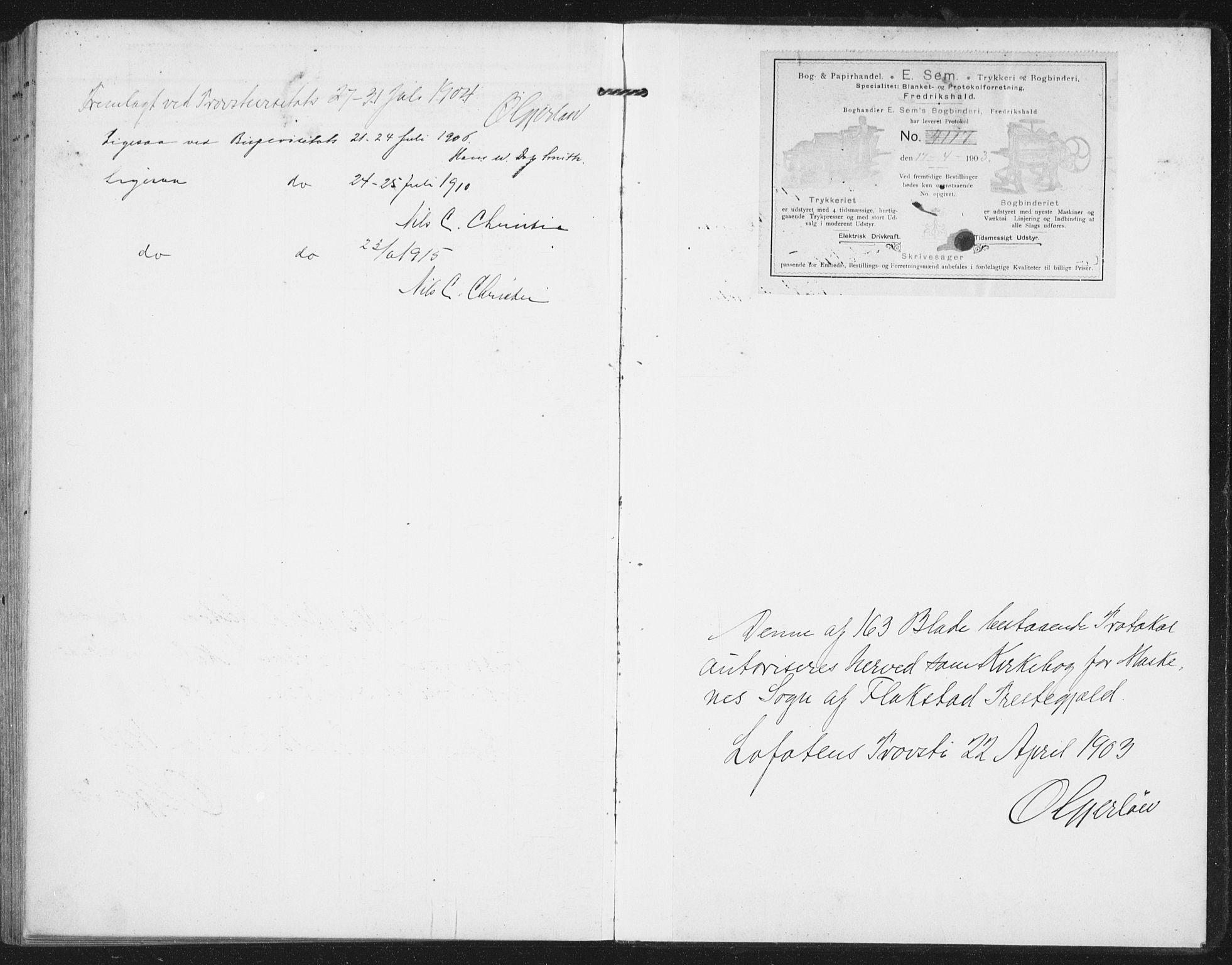SAT, Ministerialprotokoller, klokkerbøker og fødselsregistre - Nordland, 886/L1221: Ministerialbok nr. 886A03, 1903-1913