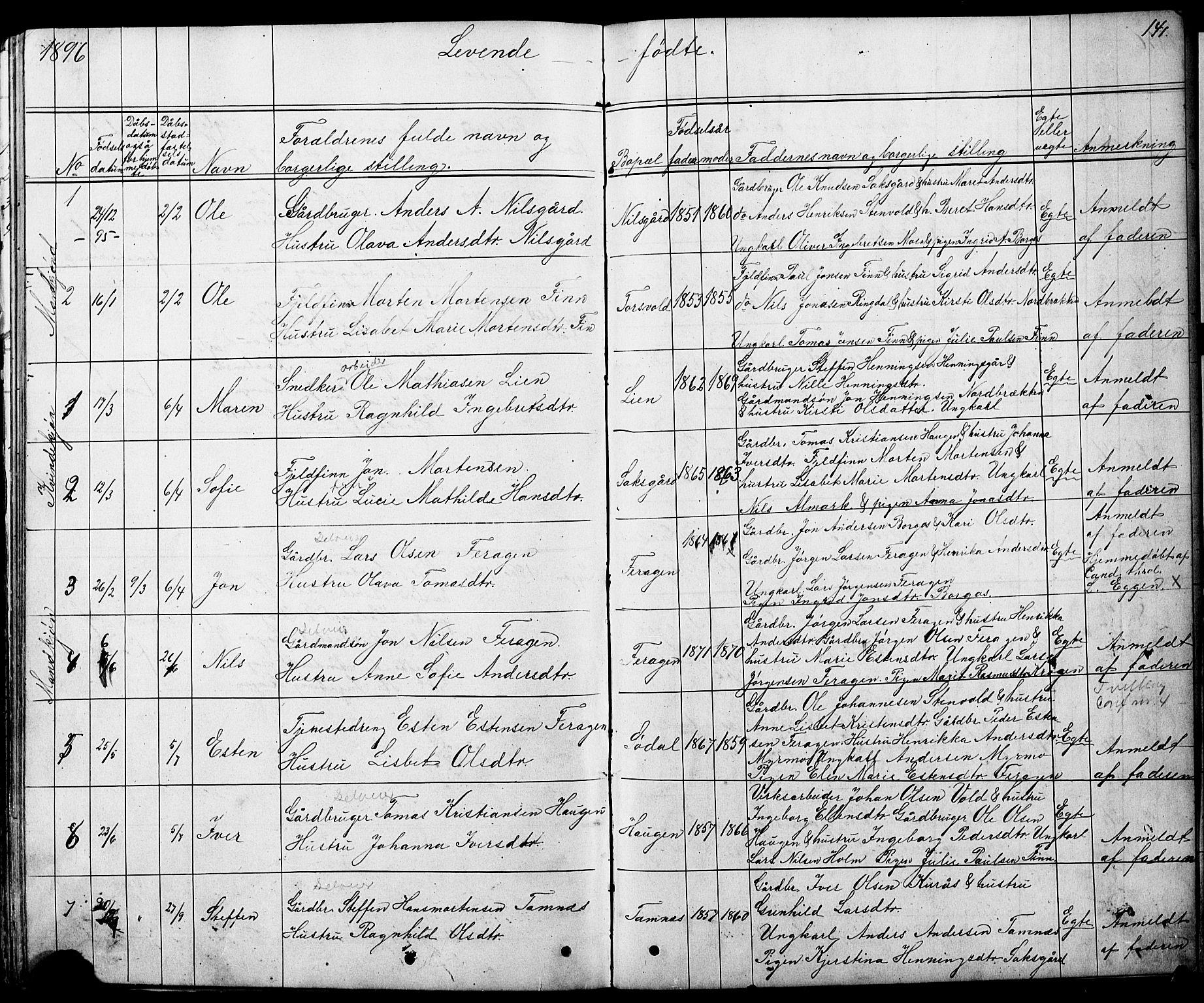 SAT, Ministerialprotokoller, klokkerbøker og fødselsregistre - Sør-Trøndelag, 683/L0949: Klokkerbok nr. 683C01, 1880-1896, s. 141