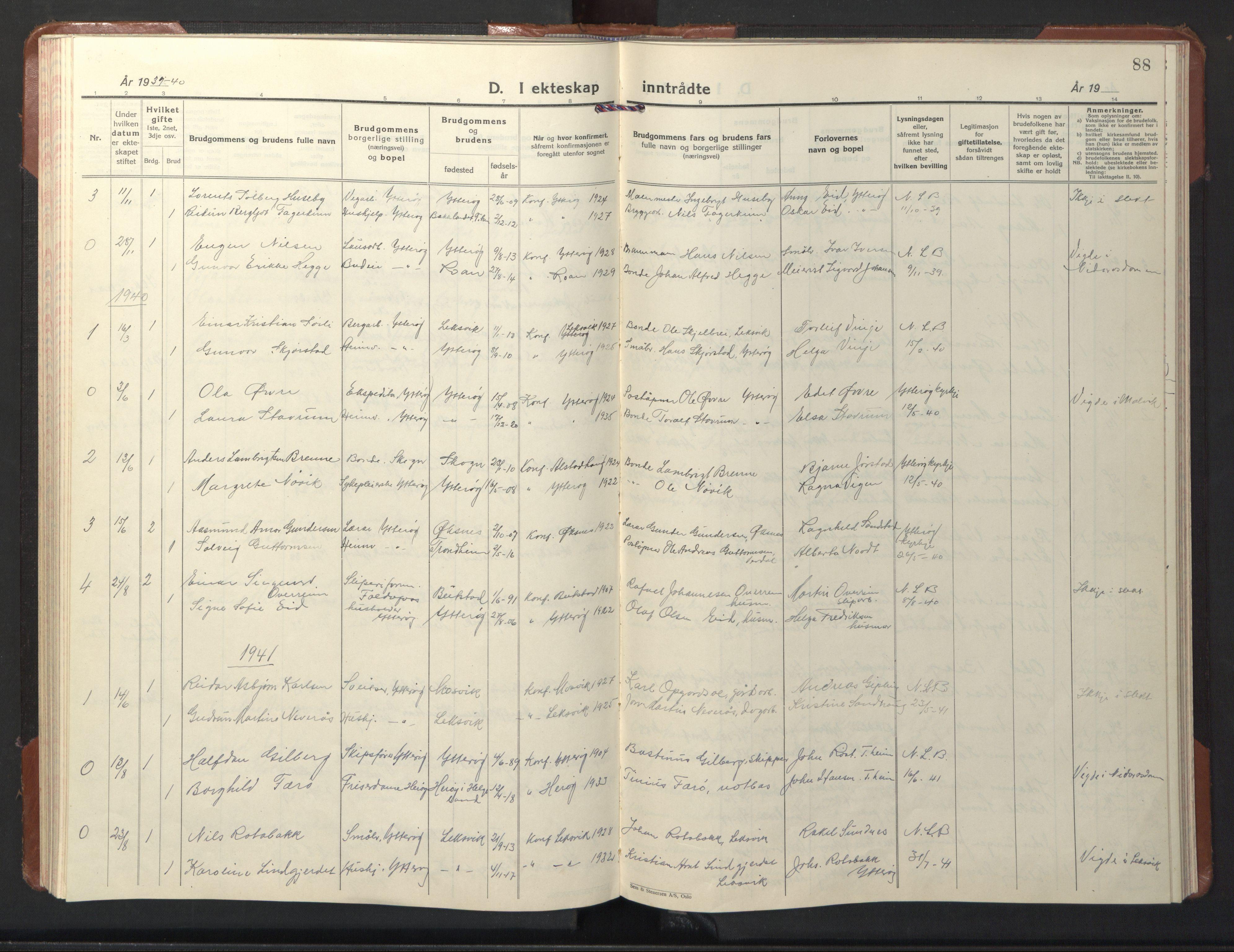 SAT, Ministerialprotokoller, klokkerbøker og fødselsregistre - Nord-Trøndelag, 722/L0227: Klokkerbok nr. 722C03, 1928-1958, s. 88