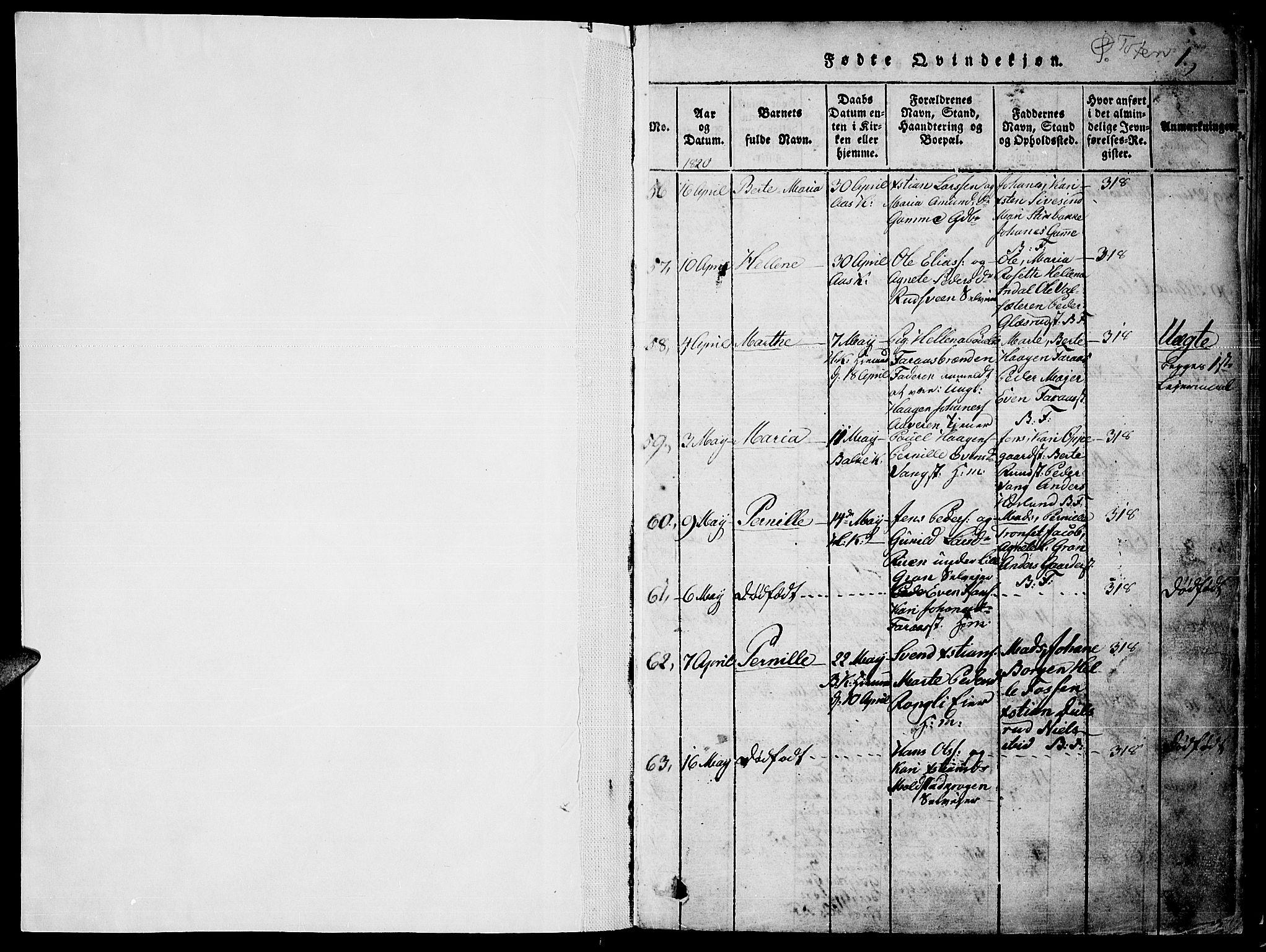 SAH, Toten prestekontor, Ministerialbok nr. 10, 1820-1828, s. 1