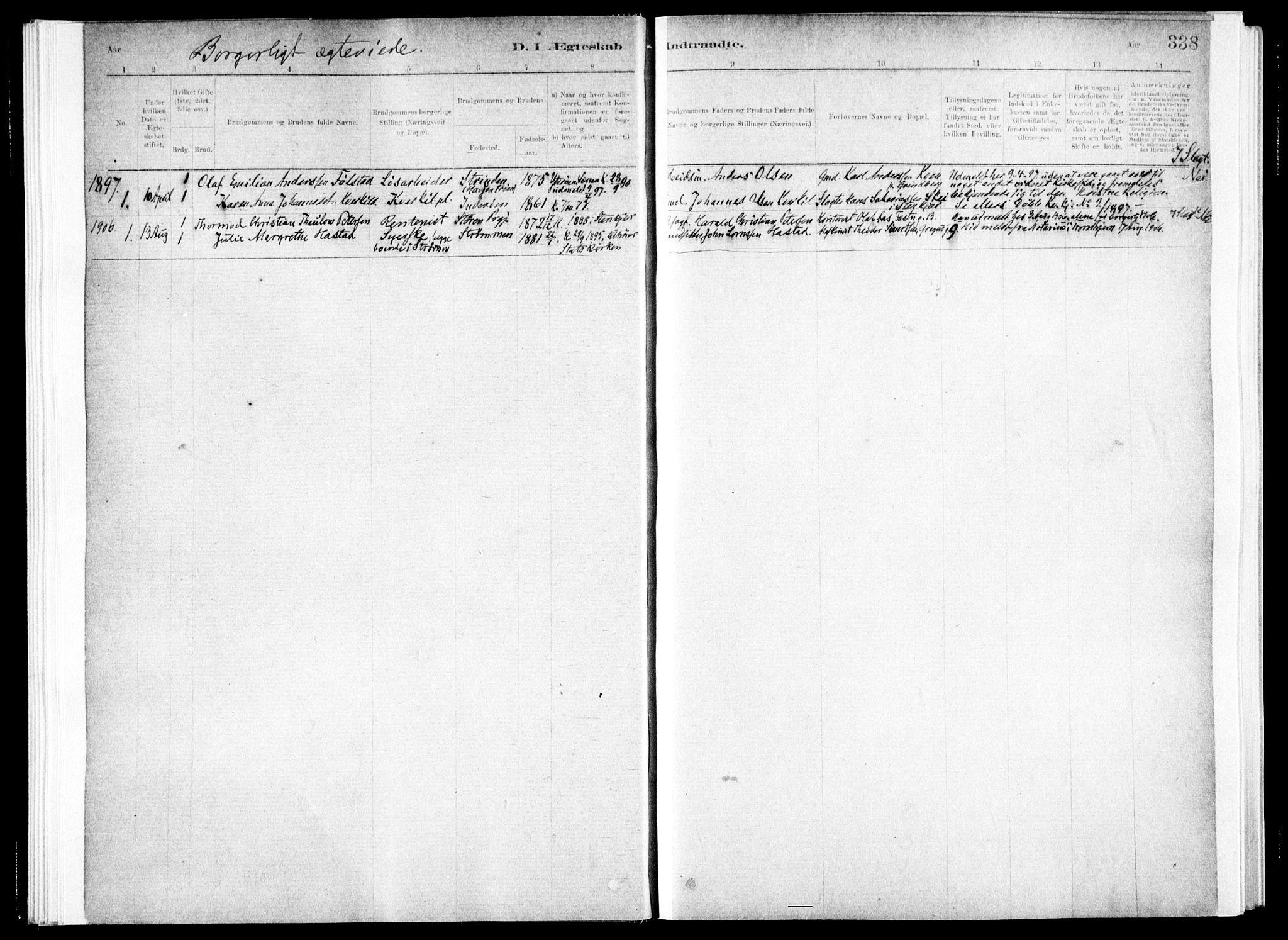 SAT, Ministerialprotokoller, klokkerbøker og fødselsregistre - Nord-Trøndelag, 730/L0285: Ministerialbok nr. 730A10, 1879-1914, s. 338